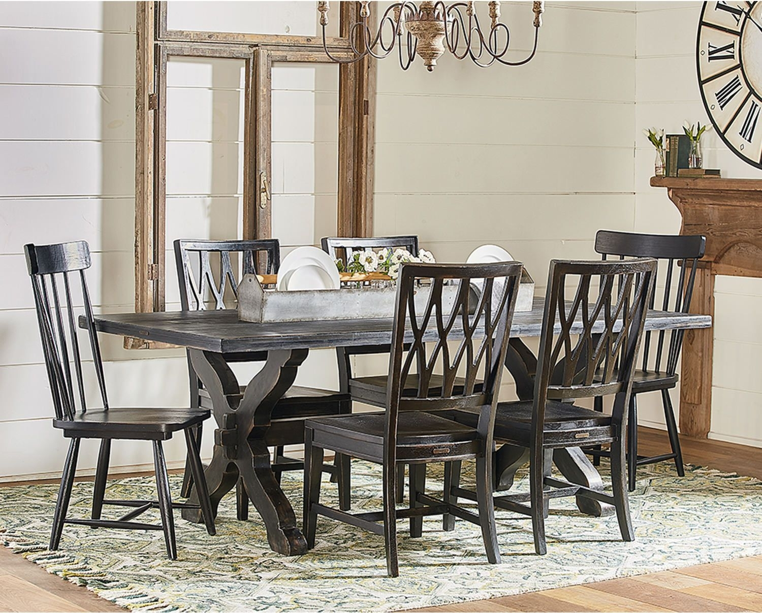 Trendy Magnolia Home Spindle Back Side Chairs In Sawbuck Table With 2 Spindle Host Chairs And 4 Camden Side Chairs (#19 of 20)