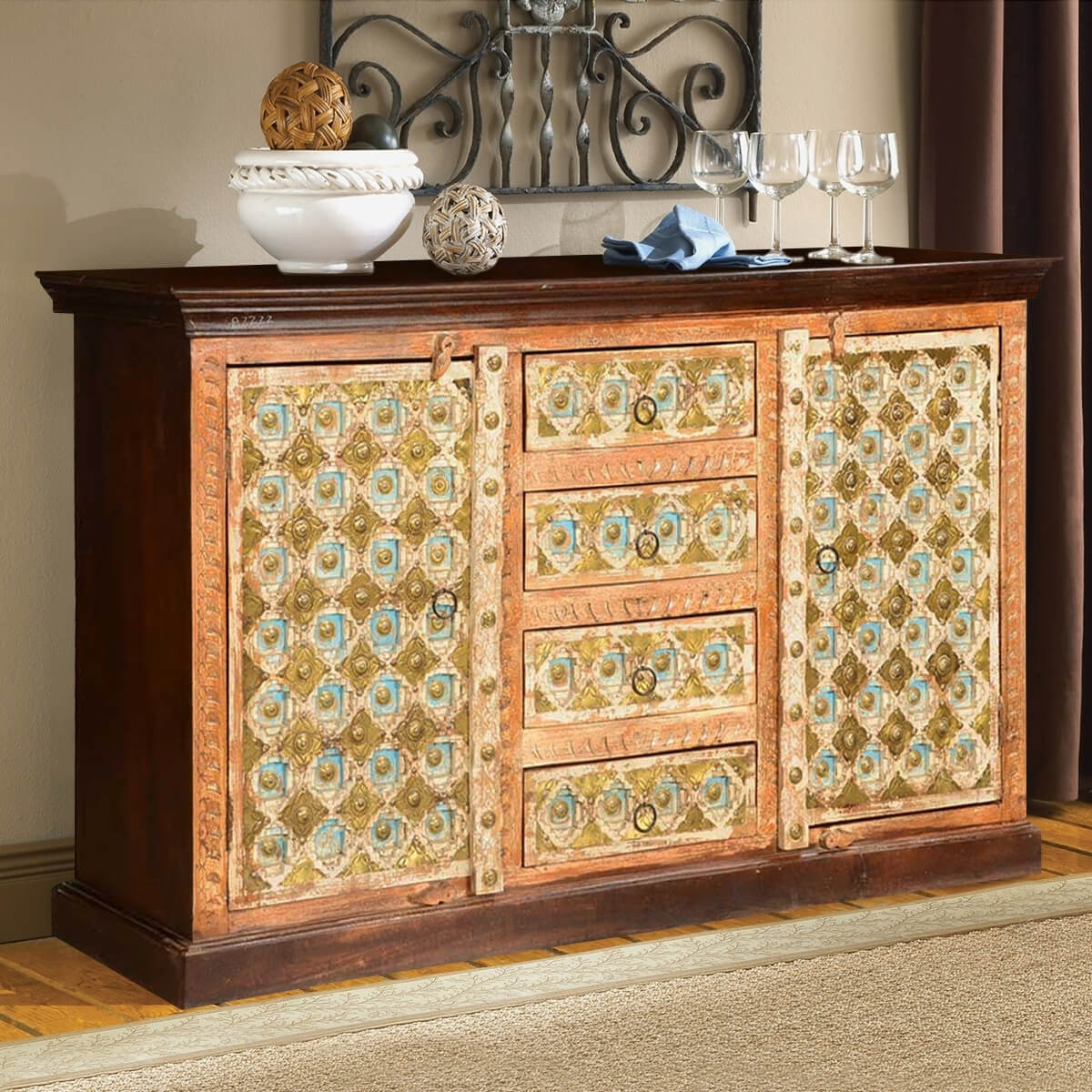Inspiration about Turkish Handcrafted Brass Inlay Mango Wood 4 Drawer Sideboard Cabinet Regarding Most Up To Date Open Shelf Brass 4 Drawer Sideboards (#7 of 20)