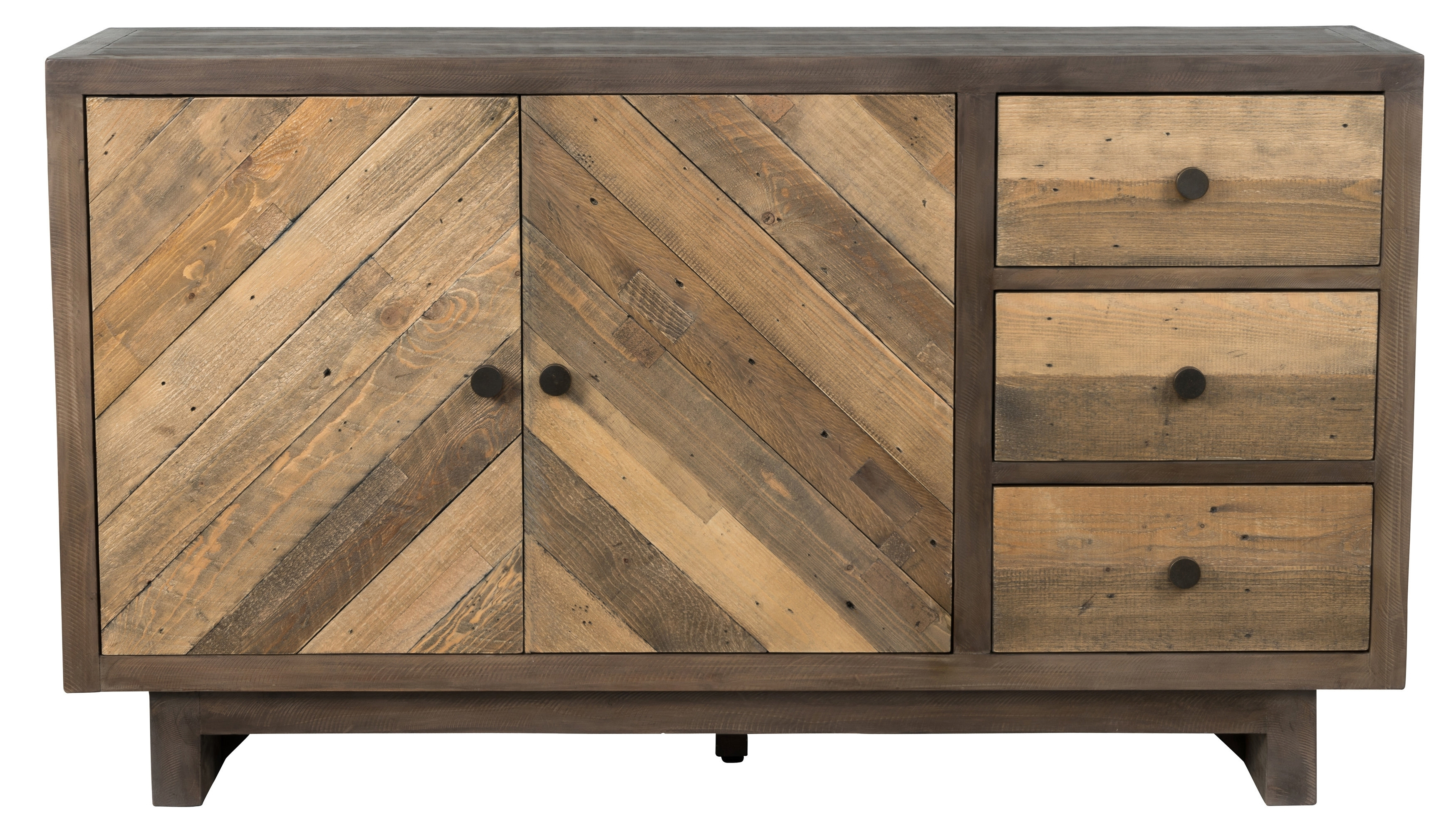 Union Rustic Brennan Reclaimed Pine 3 Drawer Sideboard & Reviews For Most Recently Released Reclaimed Pine & Iron 4 Door Sideboards (View 11 of 20)