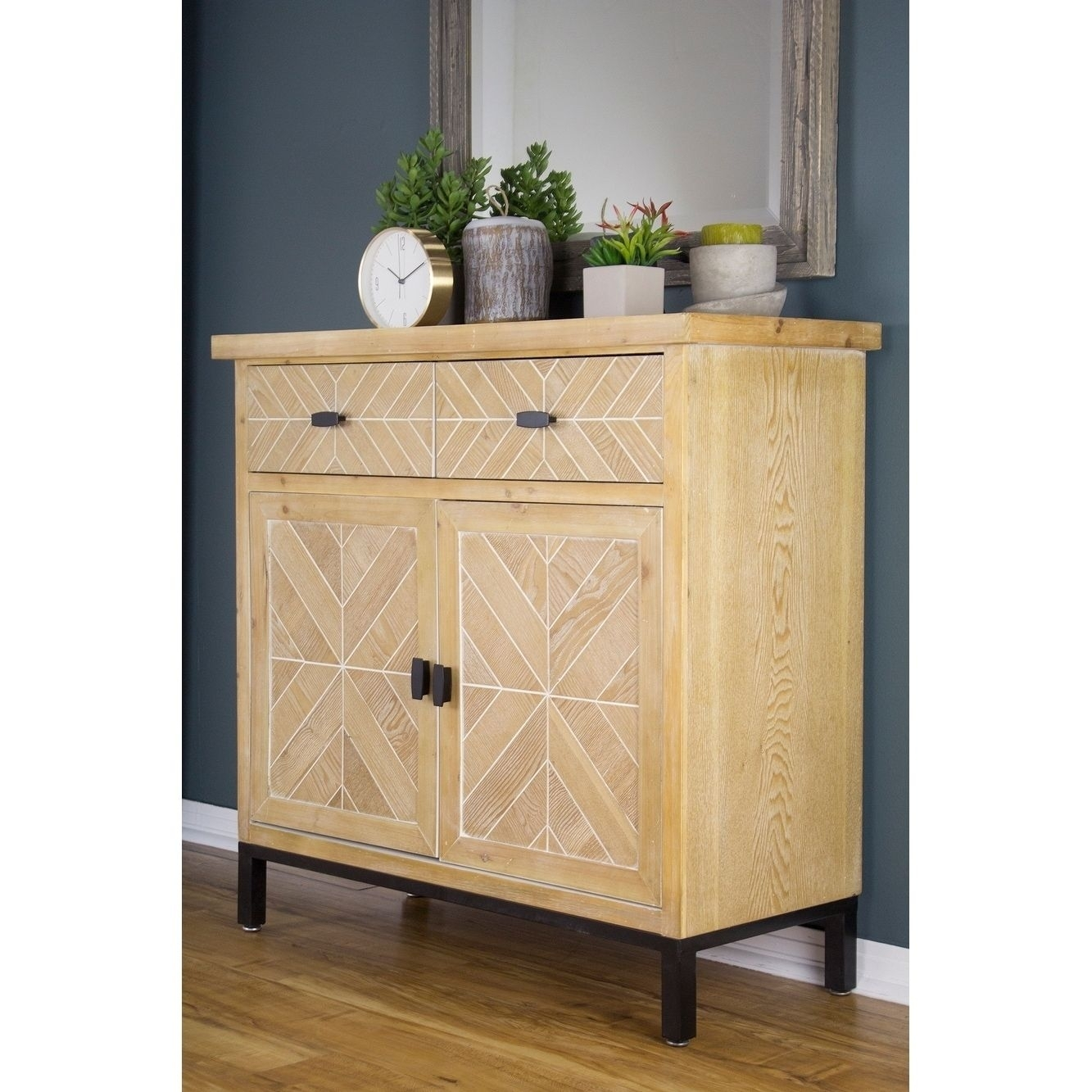 Inspiration about Urban 2 Drawer 2 Door Mid Century Parquet Sideboard, Black With Most Popular Parquet Sideboards (#14 of 20)