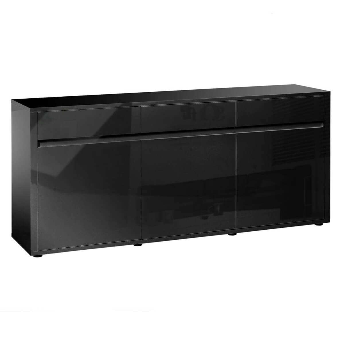 Urbana Black High Gloss Sideboard 3 Door 3 Drawer | Fads With Regard To Most Current Industrial 3 Drawer 3 Door Sideboards (#19 of 20)