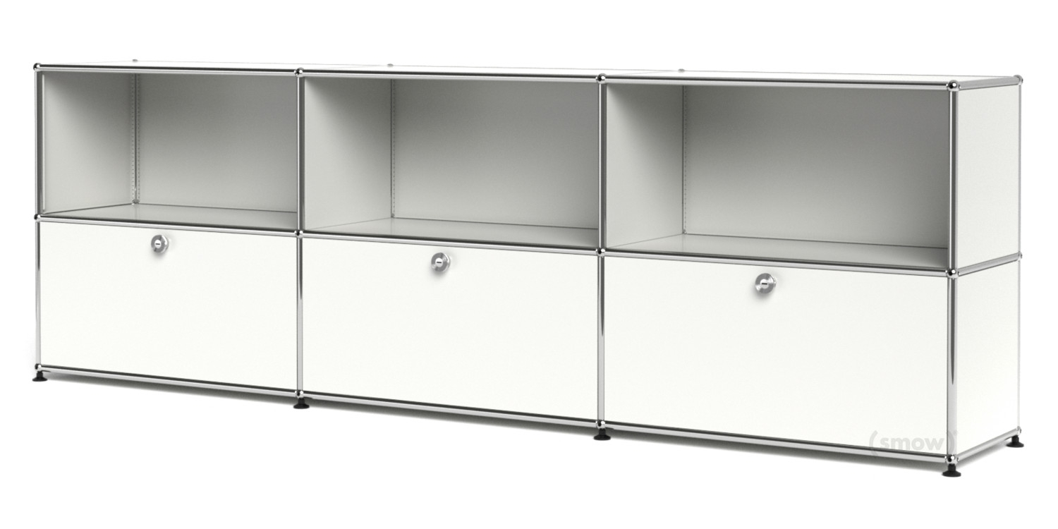Usm Haller Sideboard Xl, Customisable, Pure White Ral 9010, Open Inside Newest 3 Door 3 Drawer Metal Inserts Sideboards (#17 of 20)