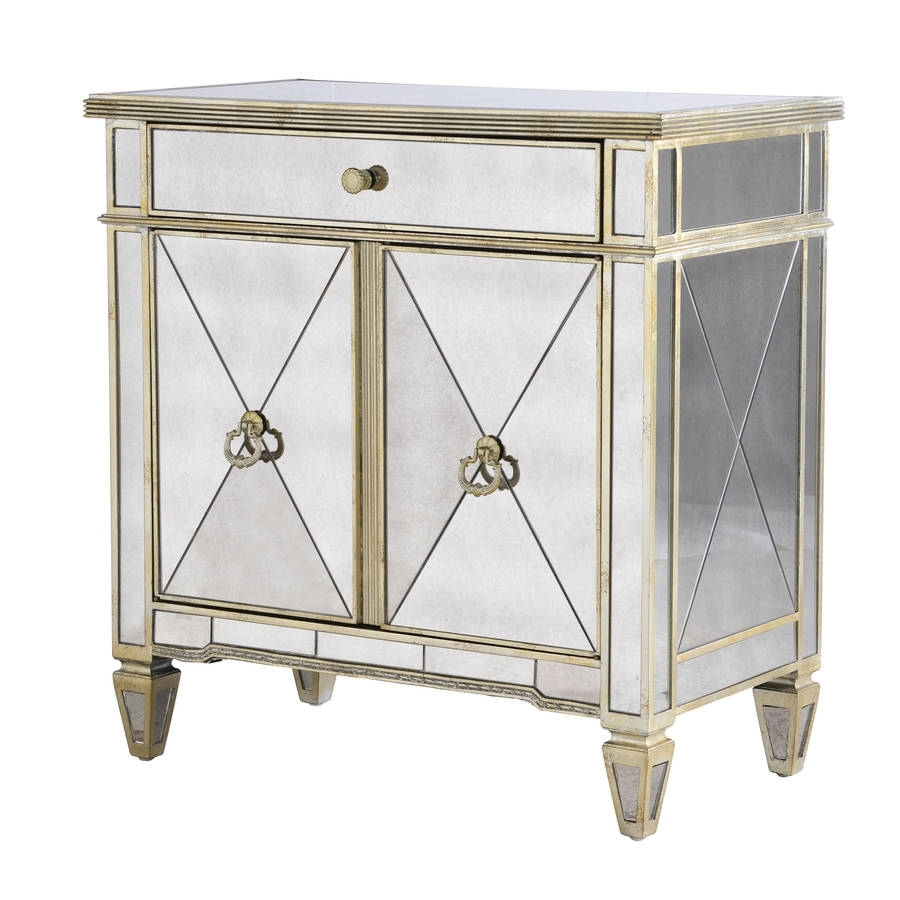 Venetian Mirrored Two Door Cabinetout There Interiors Within 2018 Aged Mirrored 2 Door Sideboards (#20 of 20)