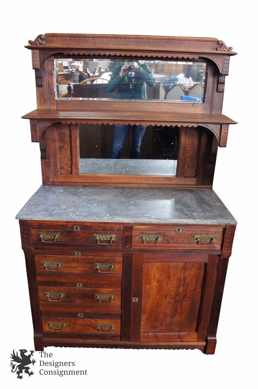 Inspiration about Victorian Eastlake Marble Top Sideboard Server Walnut Mirror Pertaining To Most Up To Date Norwood Sideboards (#4 of 20)