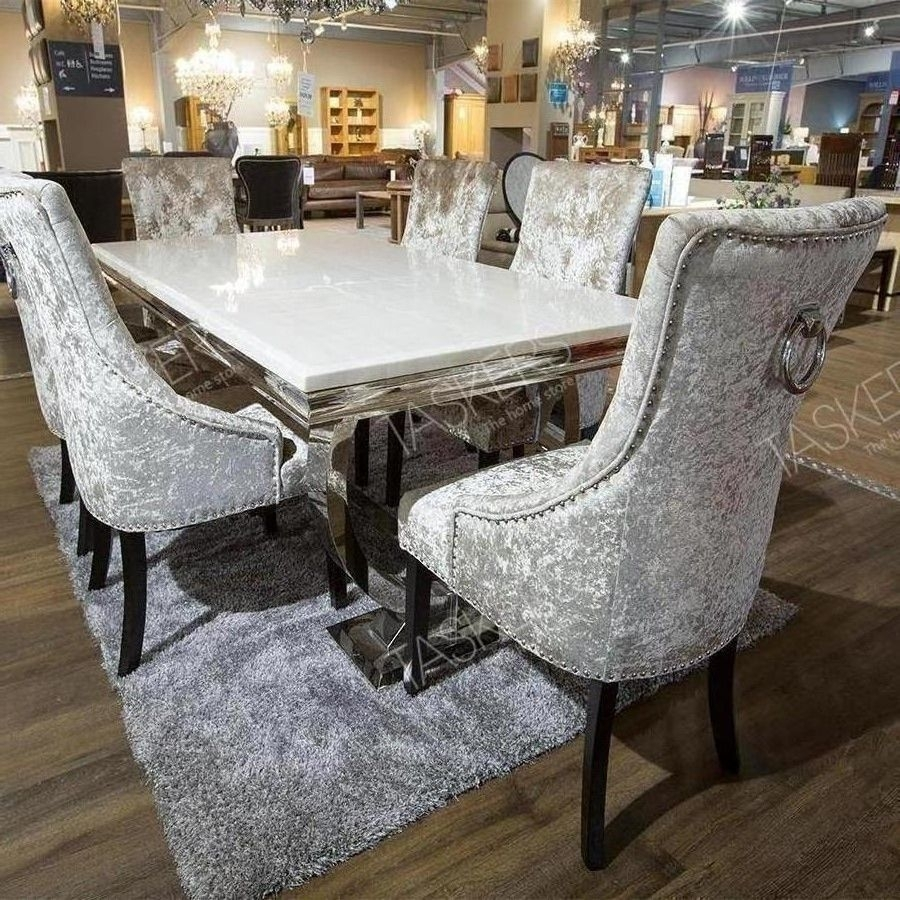Inspiration about Vida Living Arianna Marble Dining Set Throughout Most Recently Released Garten Marble Skirted Side Chairs Set Of 2 (#16 of 20)