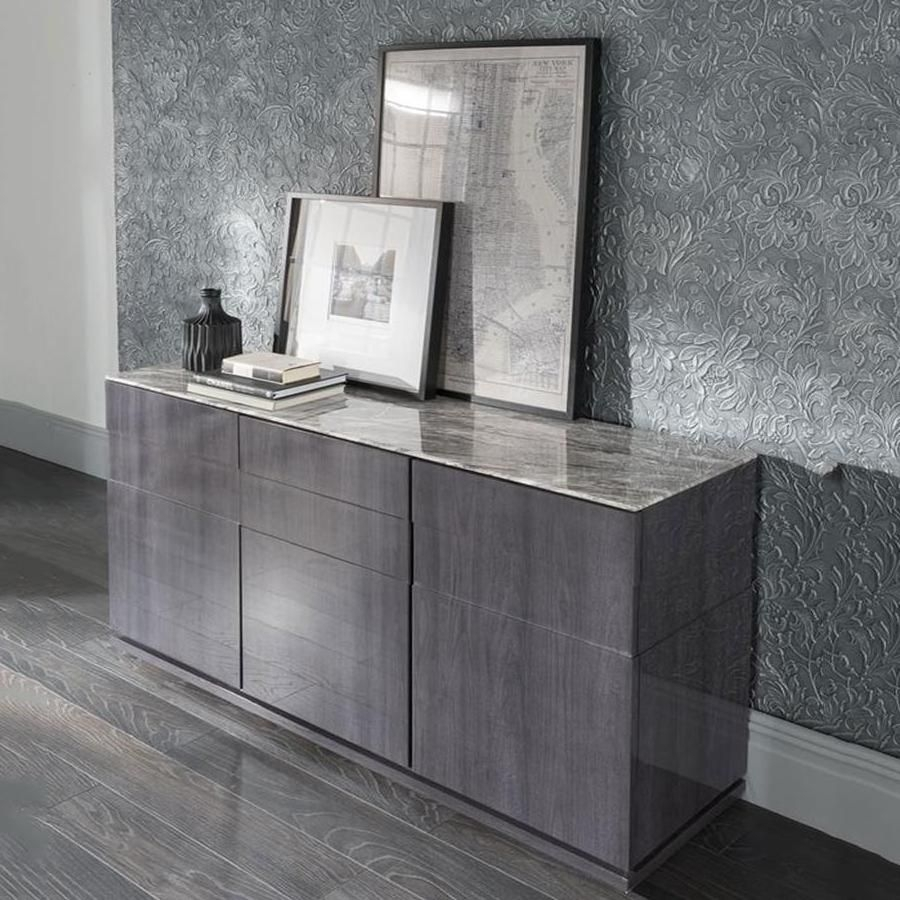 Inspiration about Vida Living Donatella Grey Marble Sideboard Pertaining To Newest Corrugated Natural 6 Door Sideboards (#18 of 20)