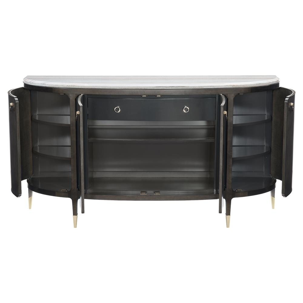 Inspiration about Vincent Modern Classic Dark Wood Sandstone Top Demilune Sideboard Regarding Most Recent Brown Wood 72 Inch Sideboards (#18 of 20)