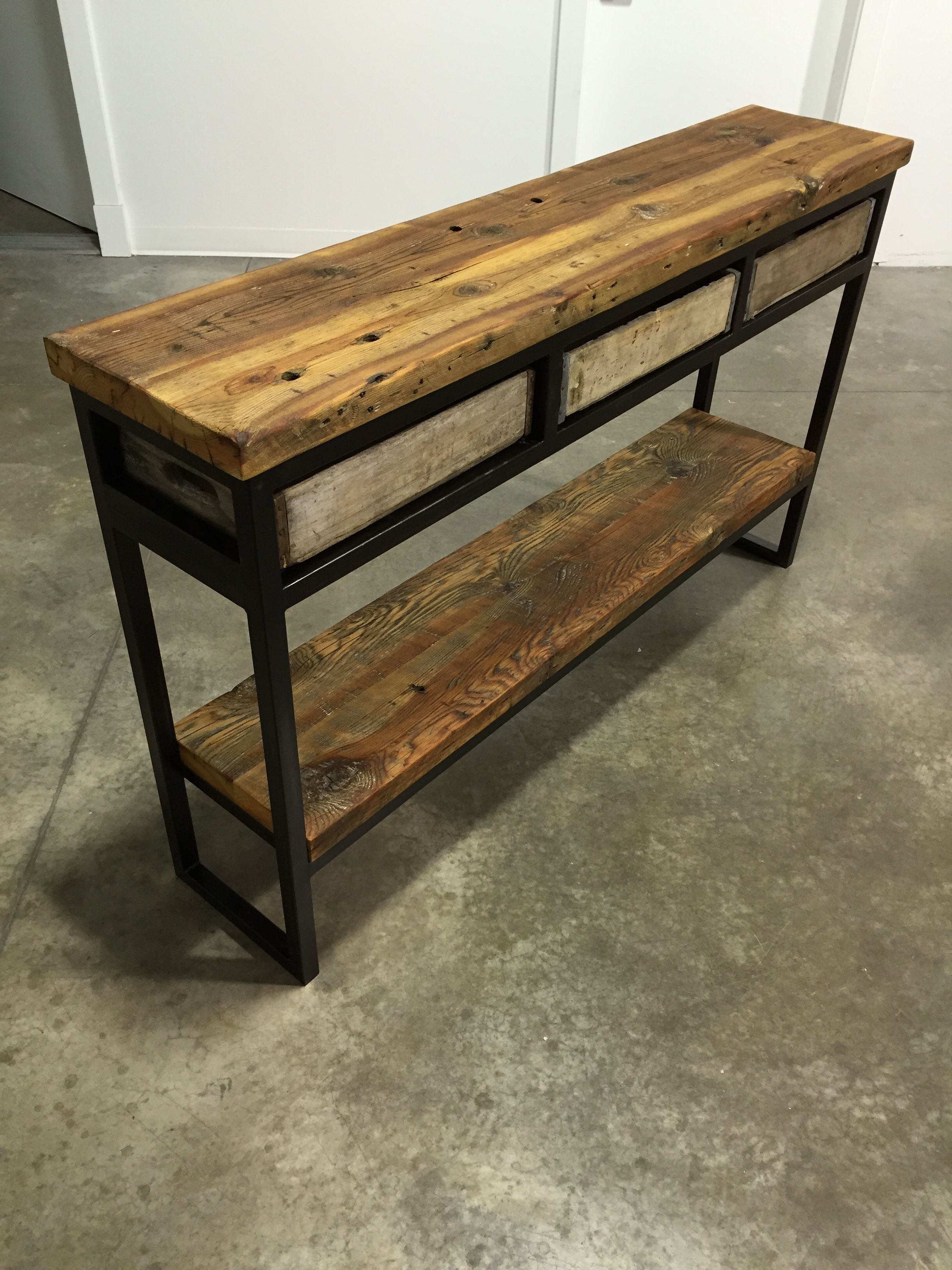 Inspiration about Vintage Crate Buffet/sofa Table. Reclaimed Montana Barn Wood Top In 2017 Metal Framed Reclaimed Wood Sideboards (#8 of 20)