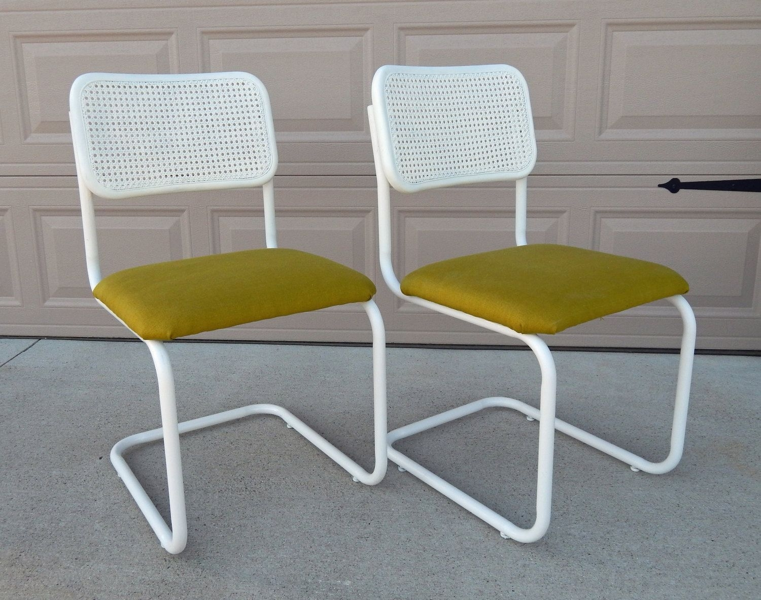Inspiration about Vintage Marcel Breuer Cesca Chair/refinished/reupholstered/apple With Regard To Popular Garten Onyx Chairs With Greywash Finish Set Of 2 (#5 of 20)