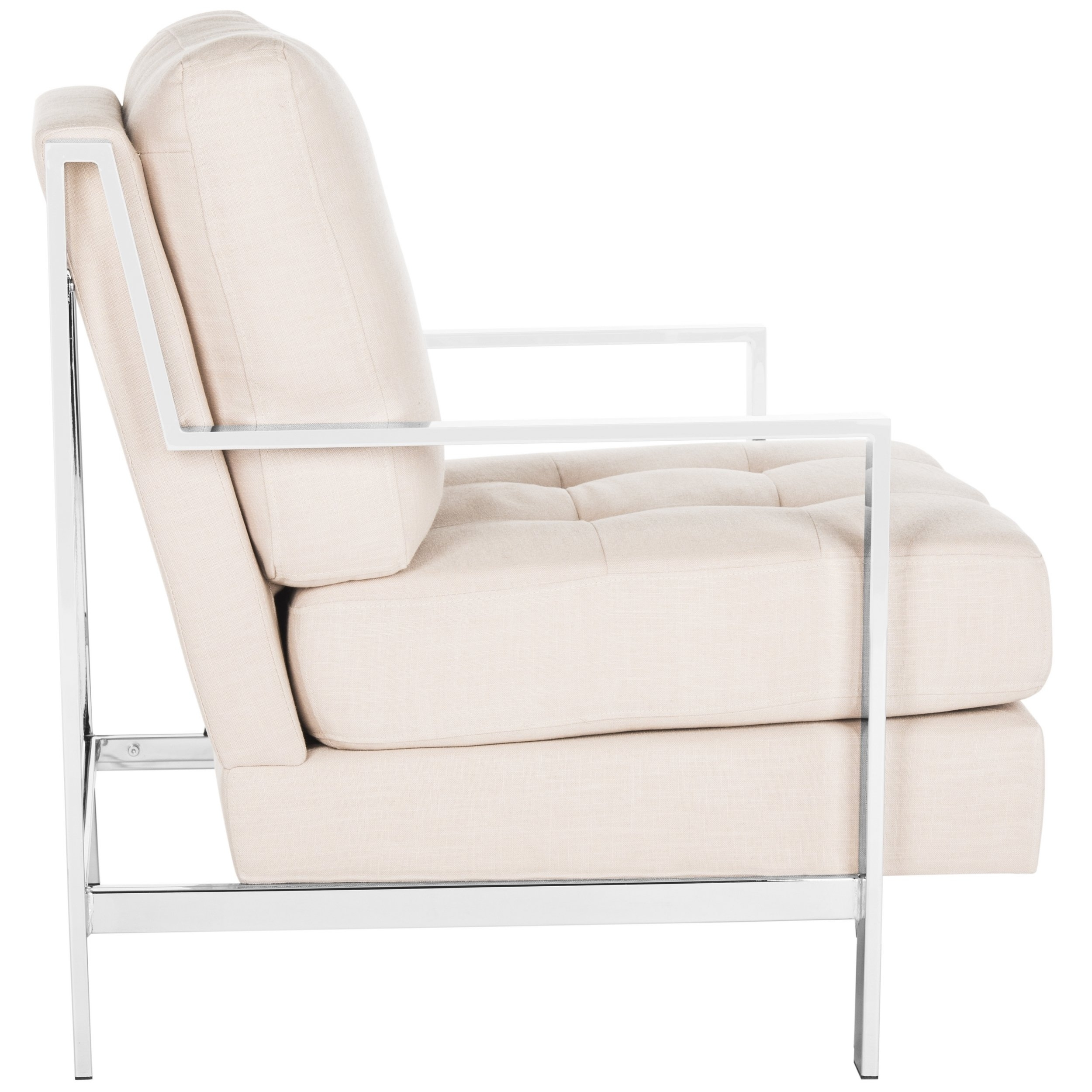 Inspiration about Walden Upholstered Arm Chairs Throughout Preferred Shop Safavieh Mid Century Modern Glam Walden Linen Beige Club Chair (#19 of 20)