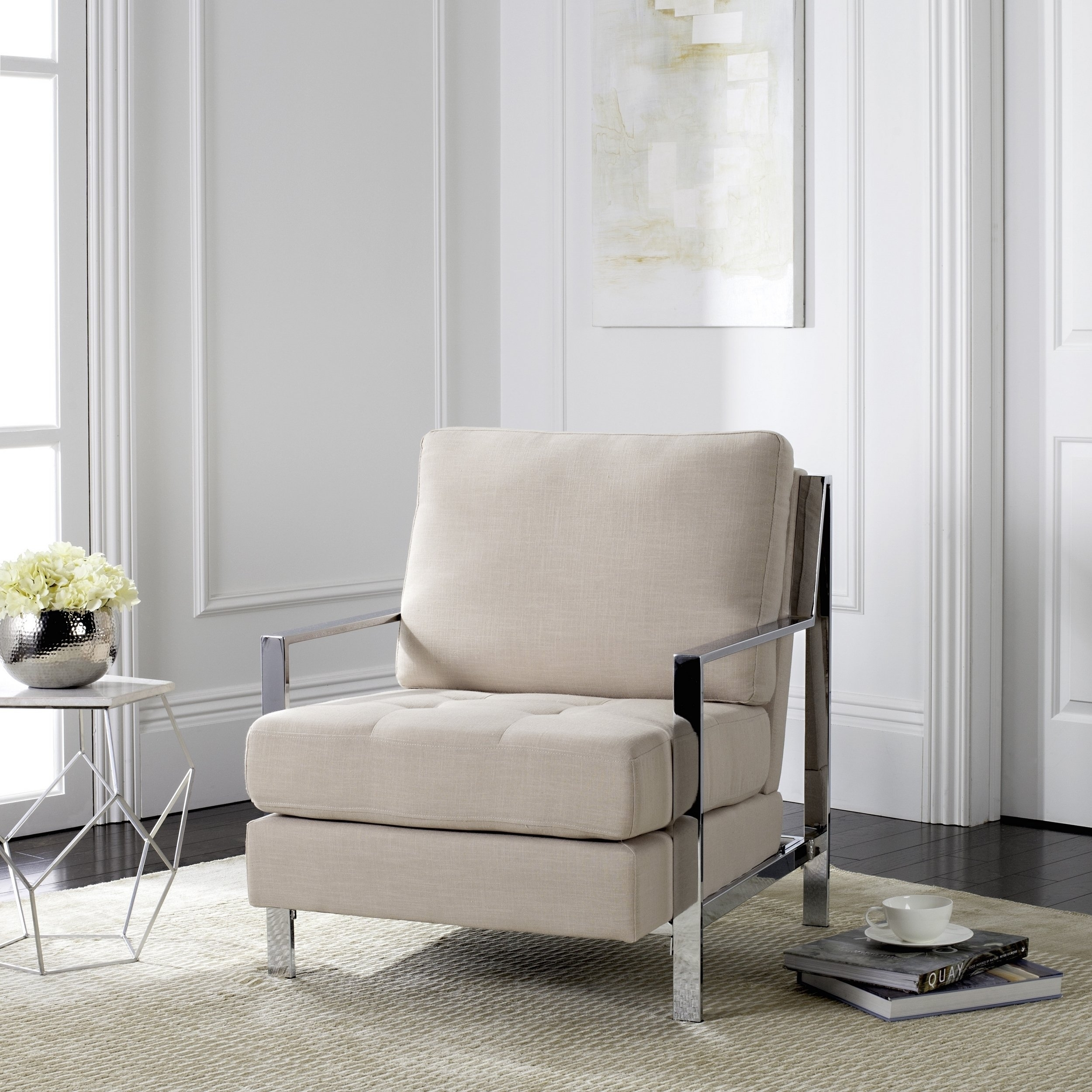 Inspiration about Walden Upholstered Side Chairs Intended For Most Recent Shop Safavieh Mid Century Modern Glam Walden Linen Beige Club Chair (#5 of 20)