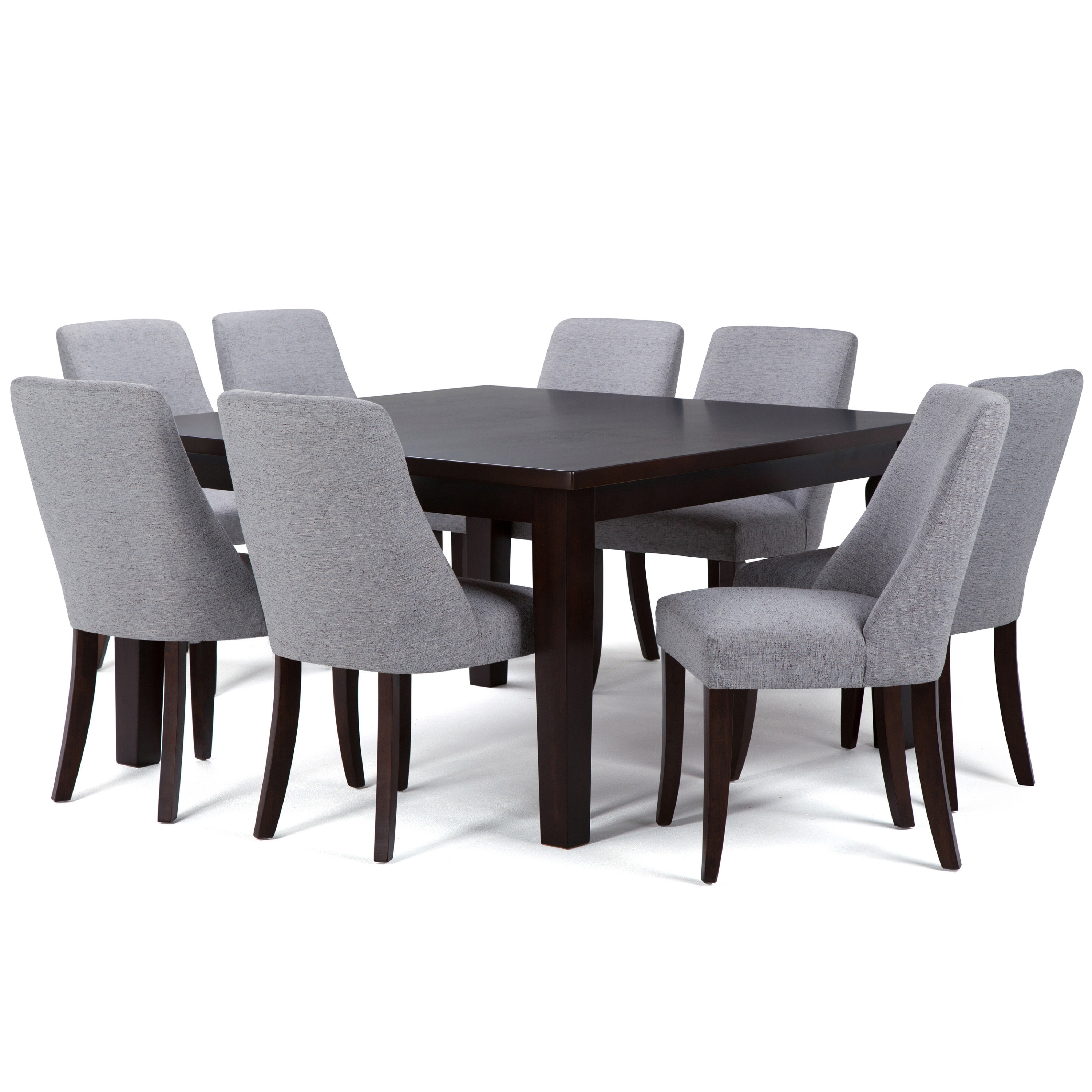 Walden Upholstered Side Chairs With Regard To Recent Simpli Home Walden 9 Piece Solid Wood Dining Set (#16 of 20)