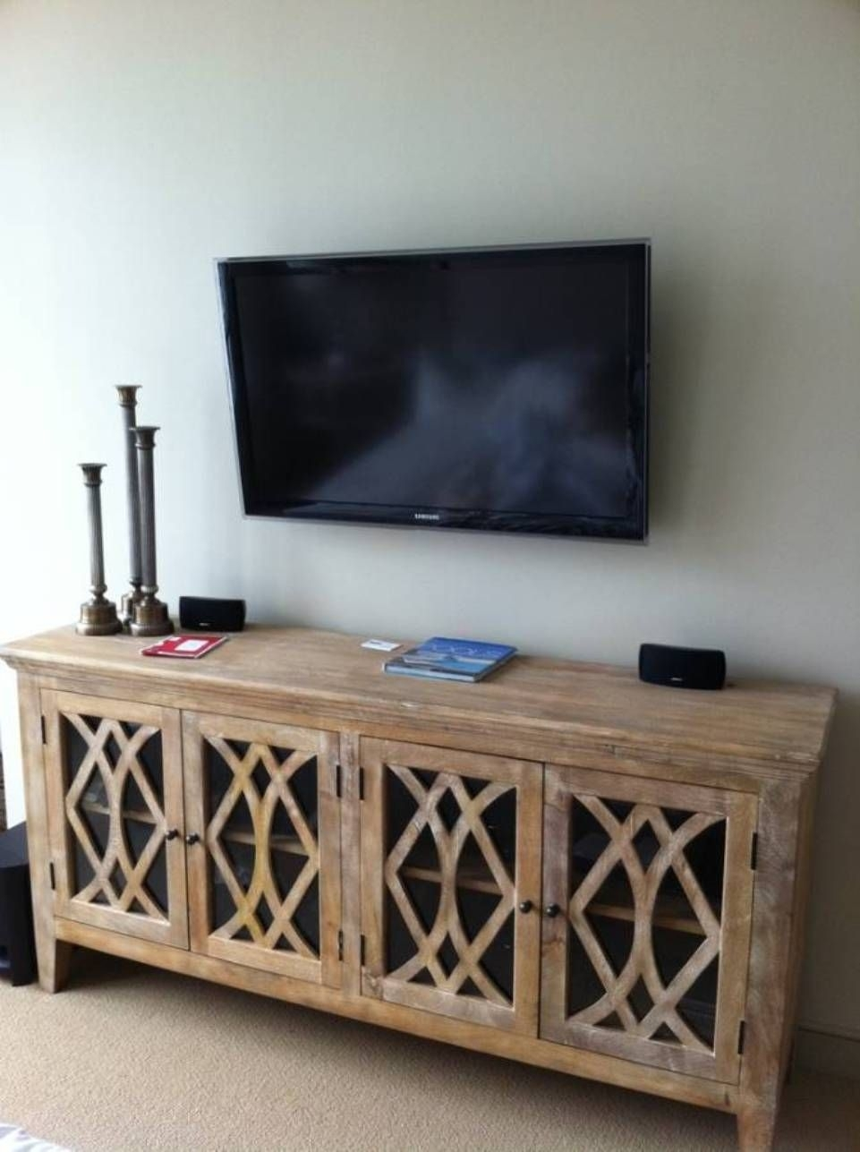 Wall Mounted Tv Over Sideboard : Modern Wall Mounted Tv Gallery Within 2017 White Wash 4 Door Galvanized Sideboards (View 14 of 20)