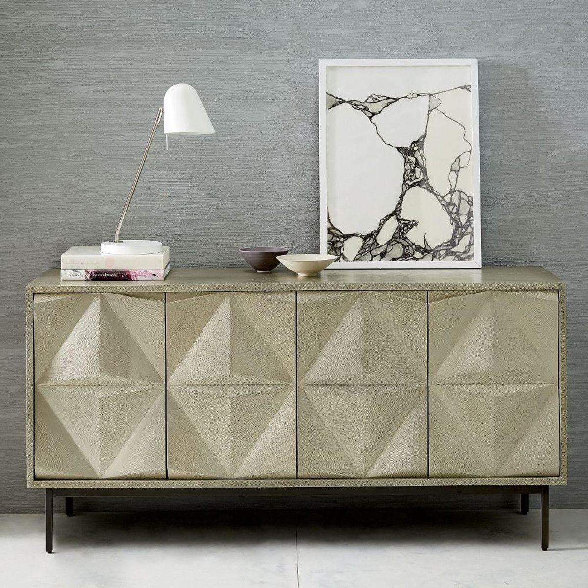 Inspiration about We Took The Architectural Design Of Our Geo Console And Gave It A Intended For Newest Carved 4 Door Metal Frame Sideboards (#20 of 20)