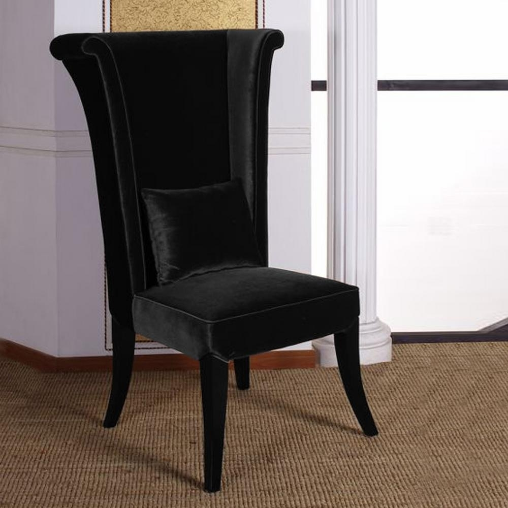 Inspiration about Well Known Burton Metal Side Chairs With Wooden Seat For Armen Living Mad Hatter 52 In. Black Velvet And Black Wood Finish (#12 of 20)