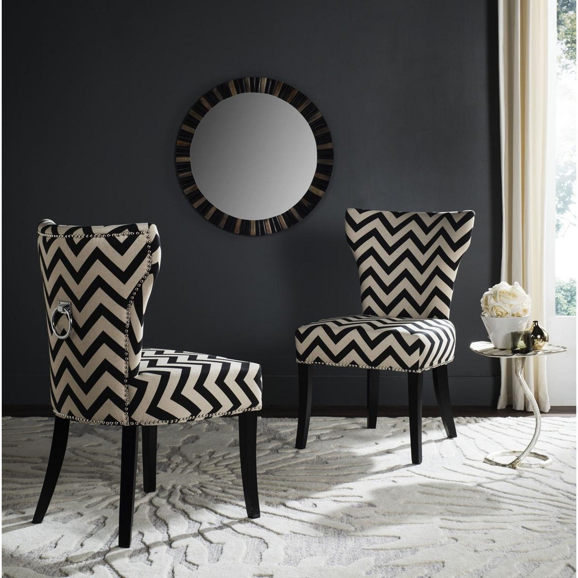 Well Known Caira Black Upholstered Side Chairs In Shop Safavieh En Vogue Dining Jappic Chevron Black/white Ring Dining (#20 of 20)