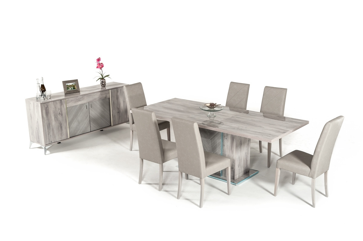Well Known Nova Domus Alexa Italian Modern Grey Extendable Dining Table For Alexa Grey Side Chairs (#19 of 20)