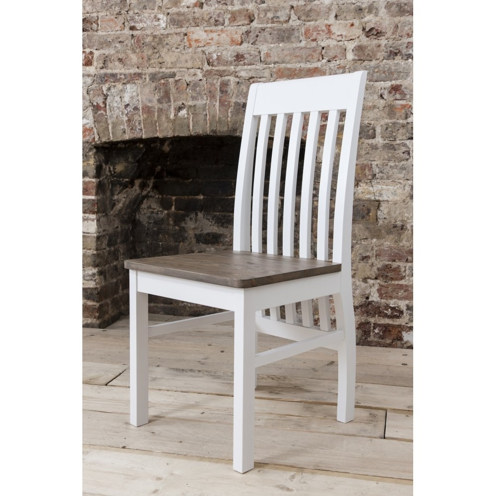 Well Known Pair Of Hever Dining Chairs In White & Dark Pine (#20 of 20)