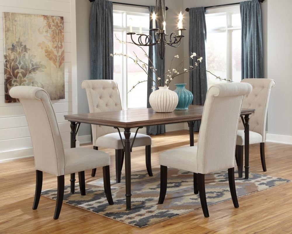 Inspiration about Well Known Tripton Rectangular Dining Room Table & 4 Uph Side Chairs (#19 of 20)