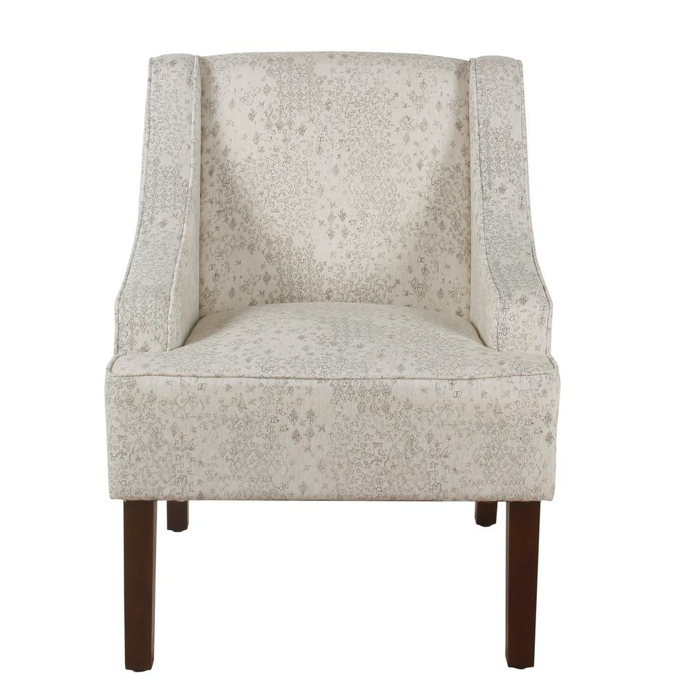 Inspiration about Well Known Valencia Side Chairs With Upholstered Seat Pertaining To Homepop Distressed Cream And Gray Vintage Stencil Classic Swoop Arm (#16 of 20)