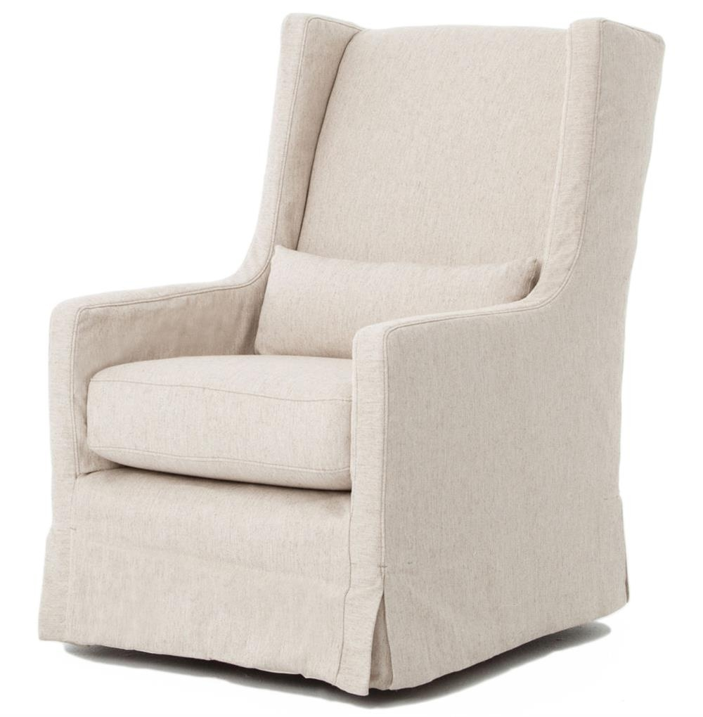 Well Known Wilshire Modern Classic Slipcover Cream Linen Swivel Arm Chair With Regard To Mindy Slipcovered Side Chairs (#18 of 20)