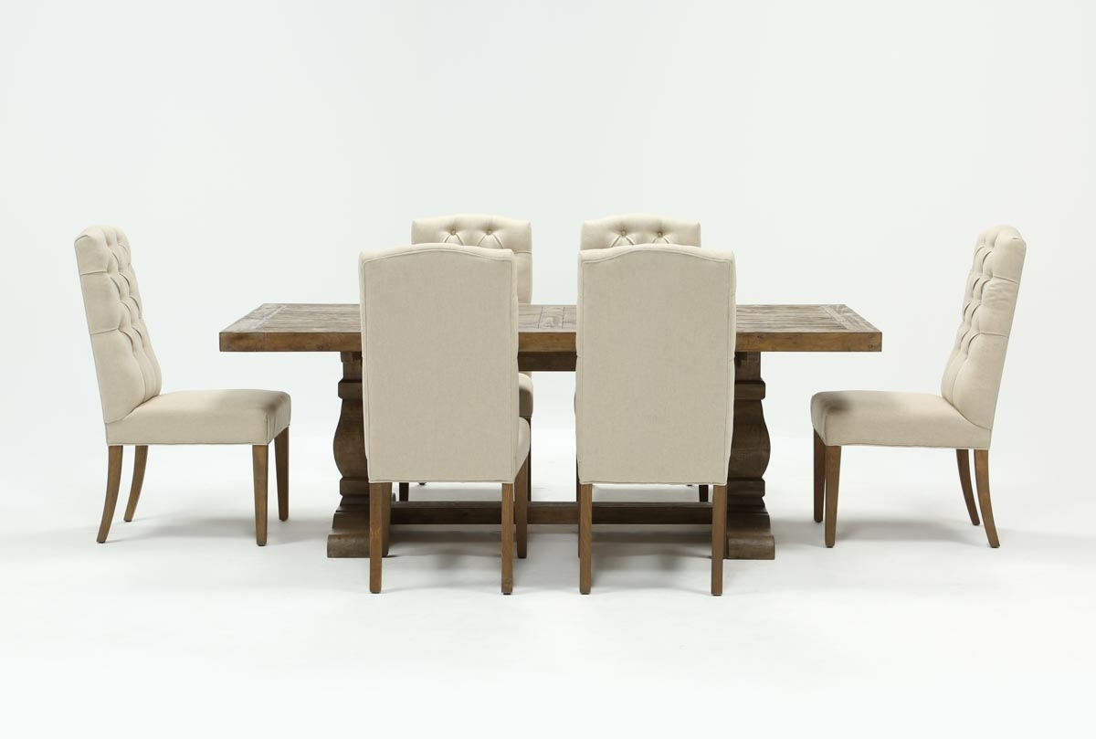 Well Liked Caden Side Chairs For Caden 7 Piece Dining Set With Upholstered Side Chair (#17 of 20)