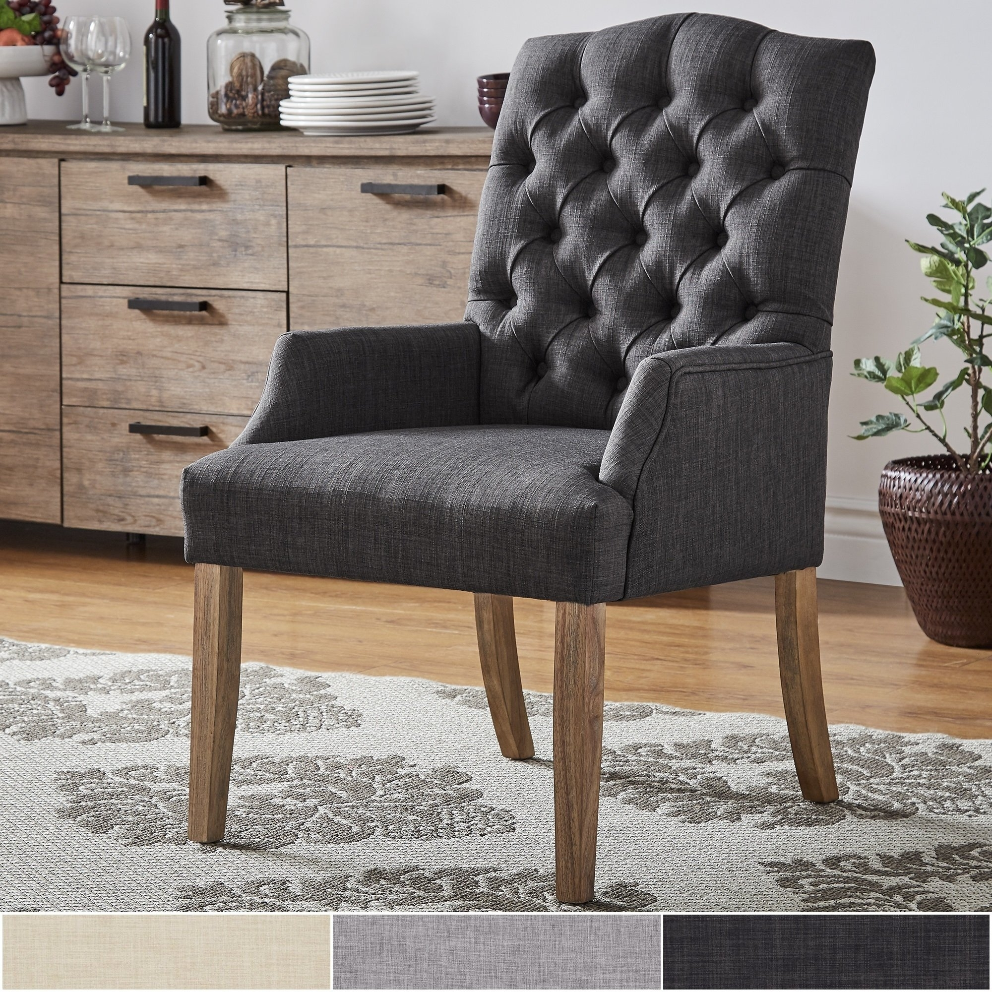 Well Liked Caira Black Upholstered Arm Chairs Inside Shop Benchwright Premium Tufted Linen Dining Arm Chairinspire Q (#20 of 20)