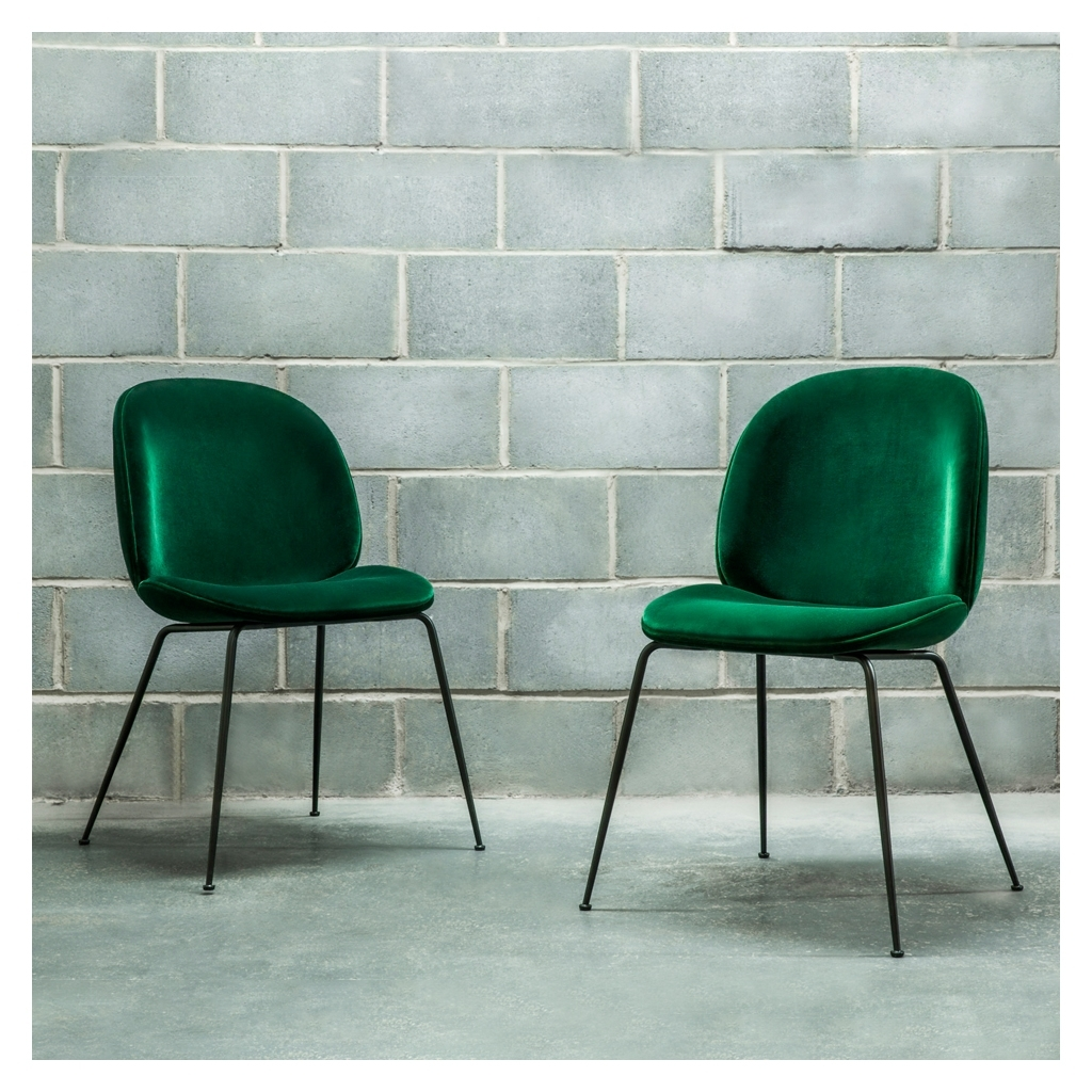 Well Liked Dark Olive Velvet Iron Dining Chairs With Regard To Beetle Dining Chair Green Velvet With Black Legs – The Conran Shop (View 3 of 20)