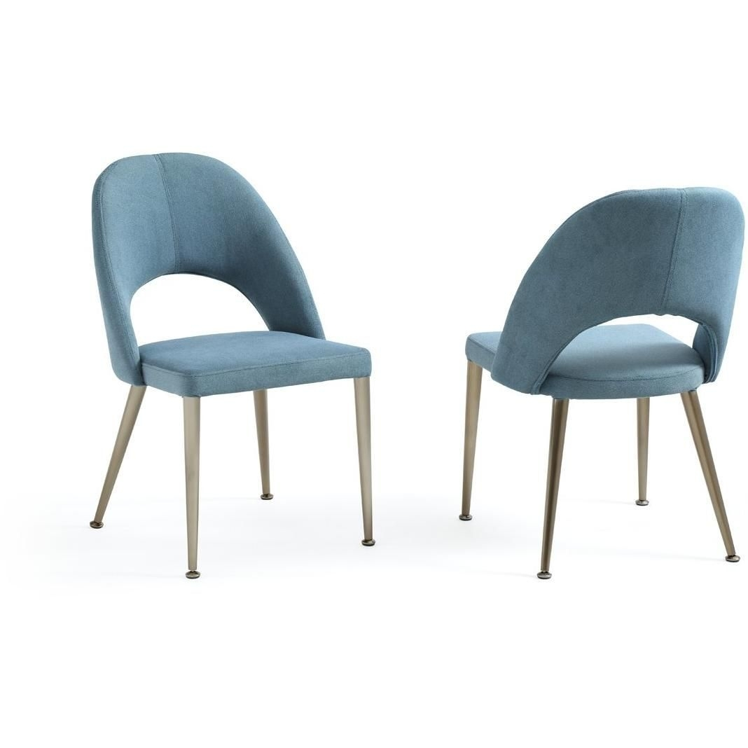 Well Liked Gloria – Modern Blue & Antique Brass Dining Chair (Set Of 2 For Moda Blue Side Chairs (View 16 of 20)