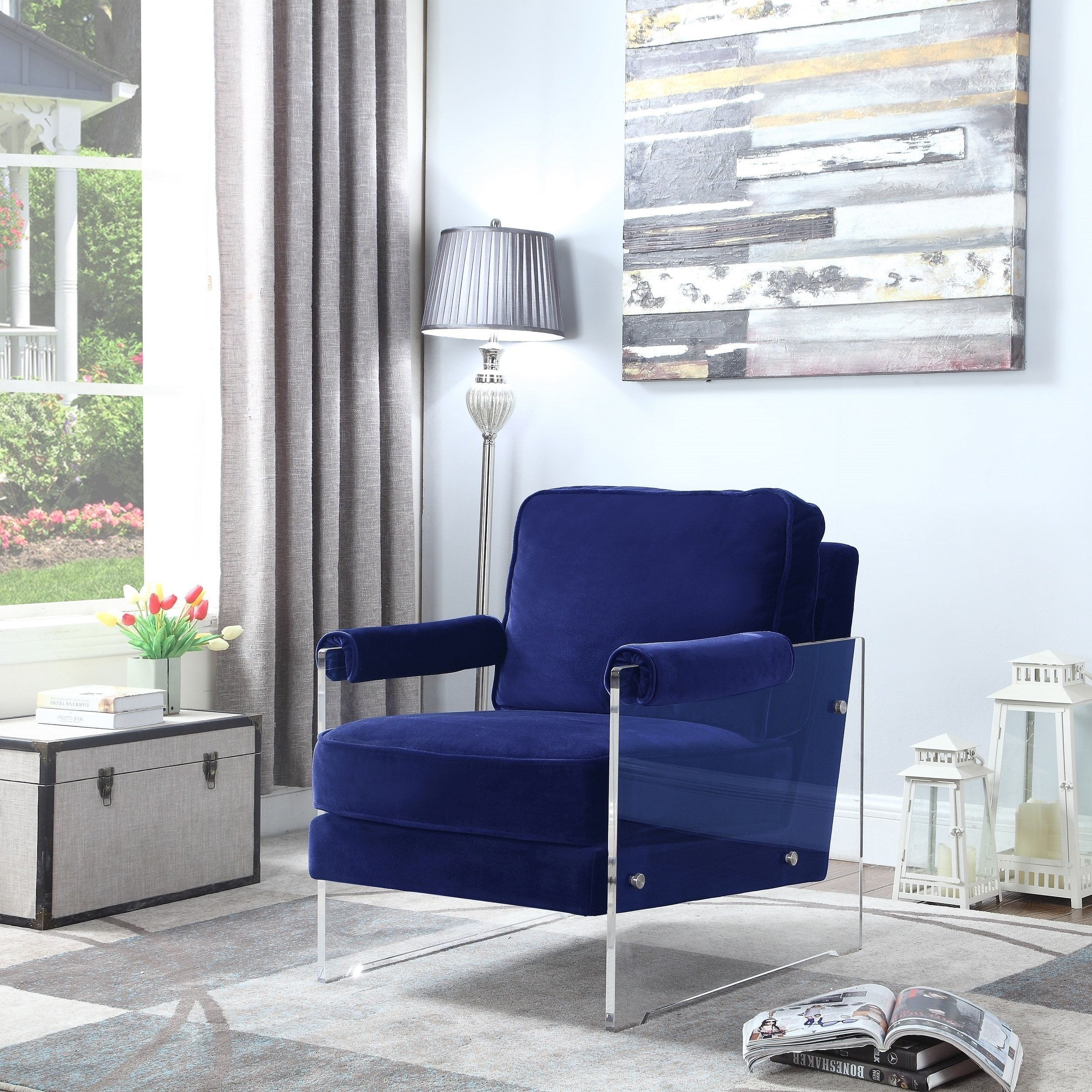Well Liked Shop Chic Home Emman Modern Contemporary Acrylic Frame Upholstered Intended For Walden Upholstered Arm Chairs (View 18 of 20)