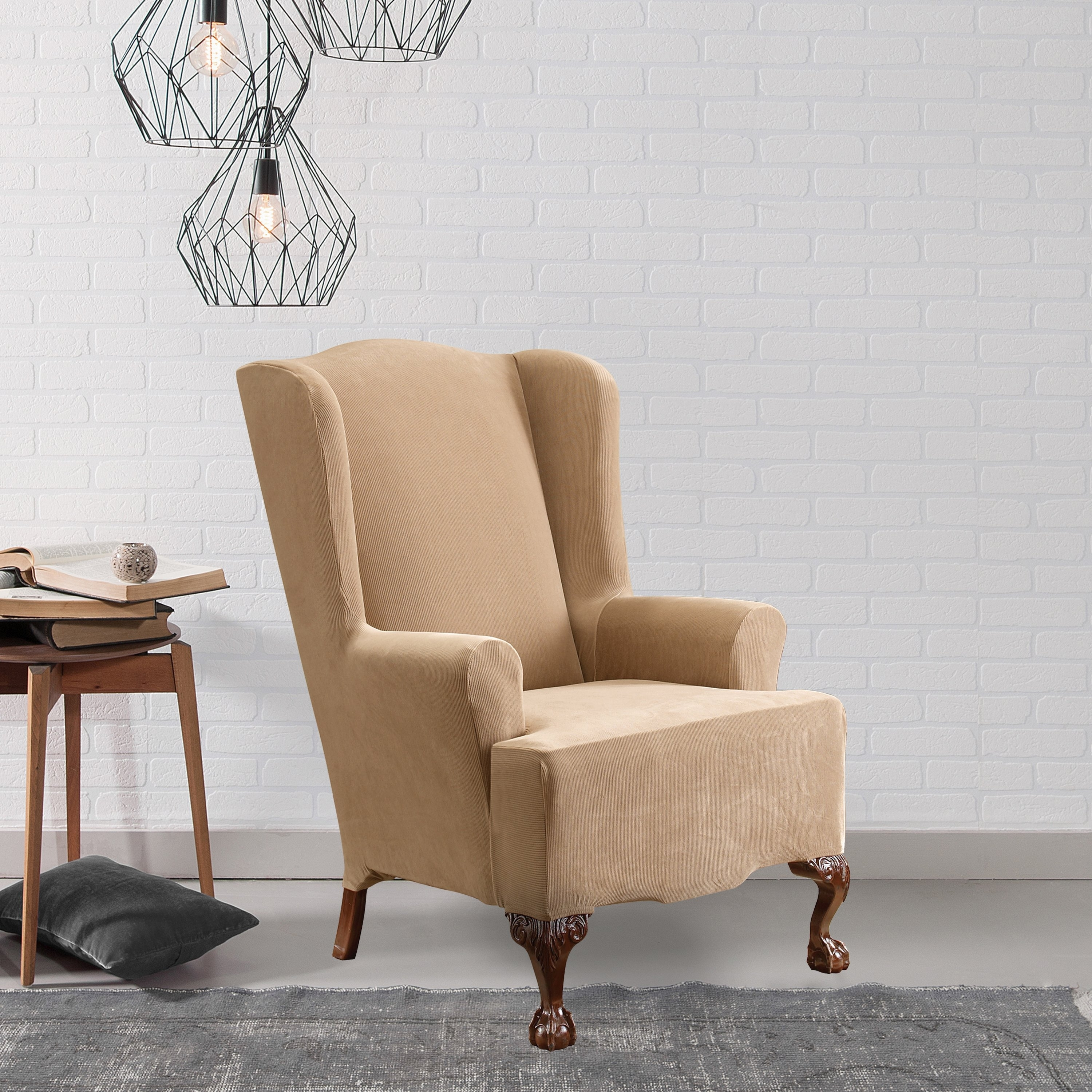 Inspiration about Well Liked Shop Sure Fit Stretch Pearson Wingback Chair Slipcover – Free Throughout Pearson Grey Slipcovered Side Chairs (#4 of 20)