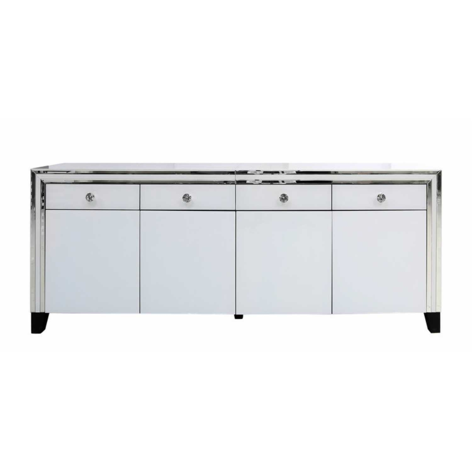 White Manhattan Mirror 4 Drawer 4 Door Cabinet  White London For 2017 Aged Mirrored 4 Door Sideboards (#20 of 20)