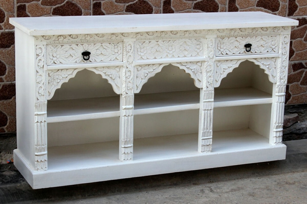 Inspiration about White Mehrab Sideboard/vanity | Furniture Australia | Shikara Design In Most Popular White Wash Carved Door Jumbo Sideboards (#4 of 20)