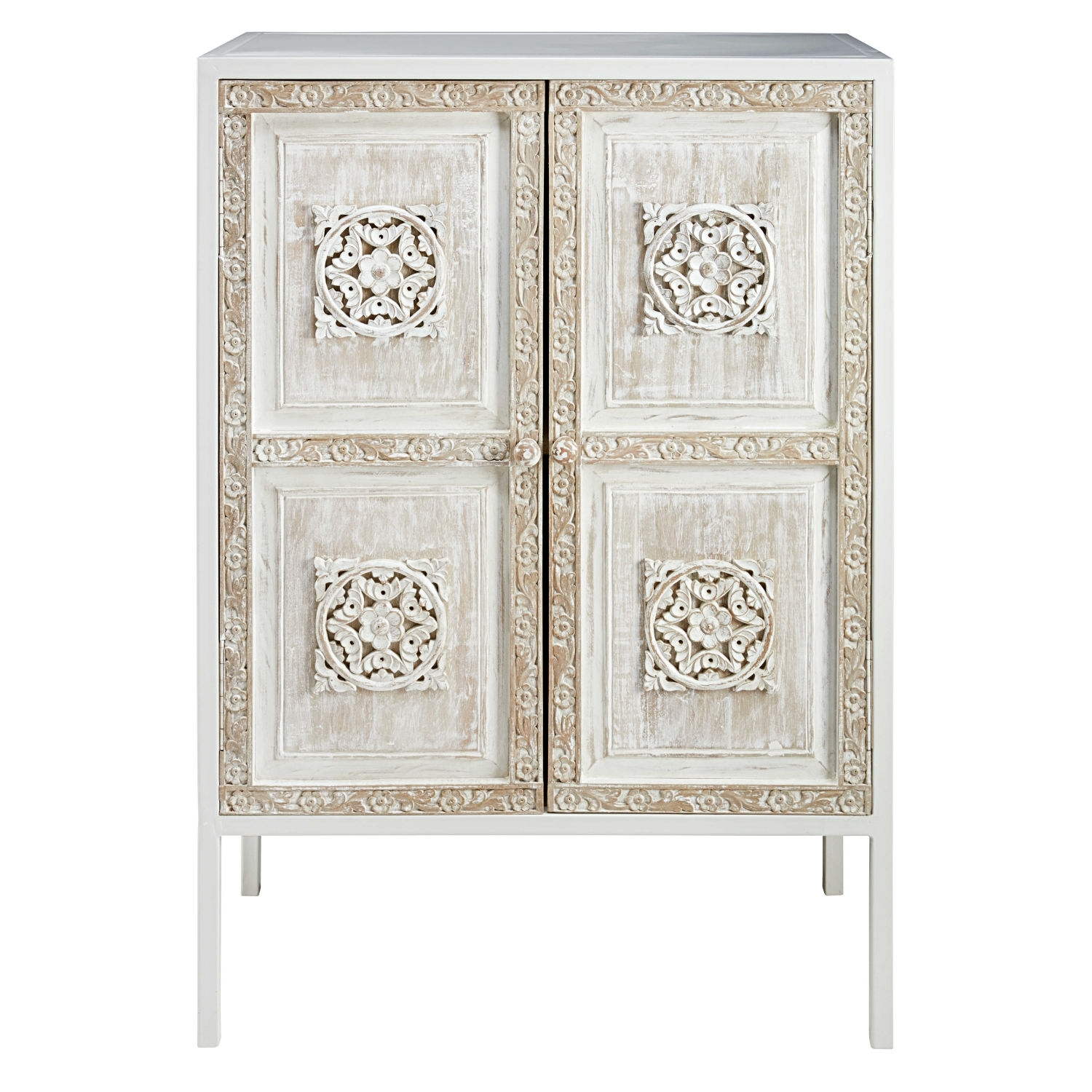 Inspiration about White Metal And Sculpted Mango Wood Sideboard | Maisons Du Monde Throughout Best And Newest Carved 4 Door Metal Frame Sideboards (#16 of 20)