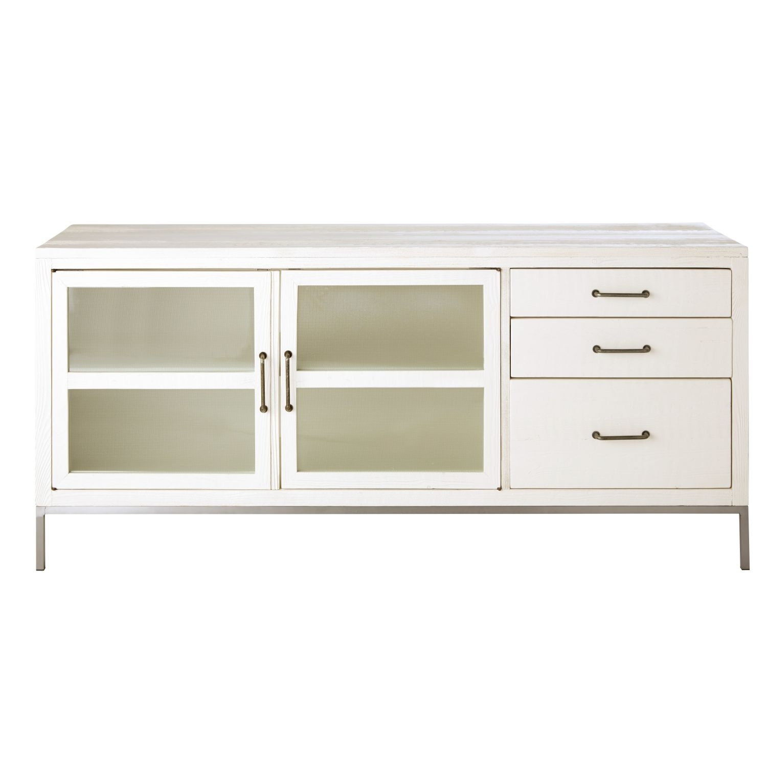 White Recycled Pine 2 Door 3 Drawer Sideboard | Maisons Du Monde With Most Up To Date Aged Pine 3 Drawer 2 Door Sideboards (#20 of 20)