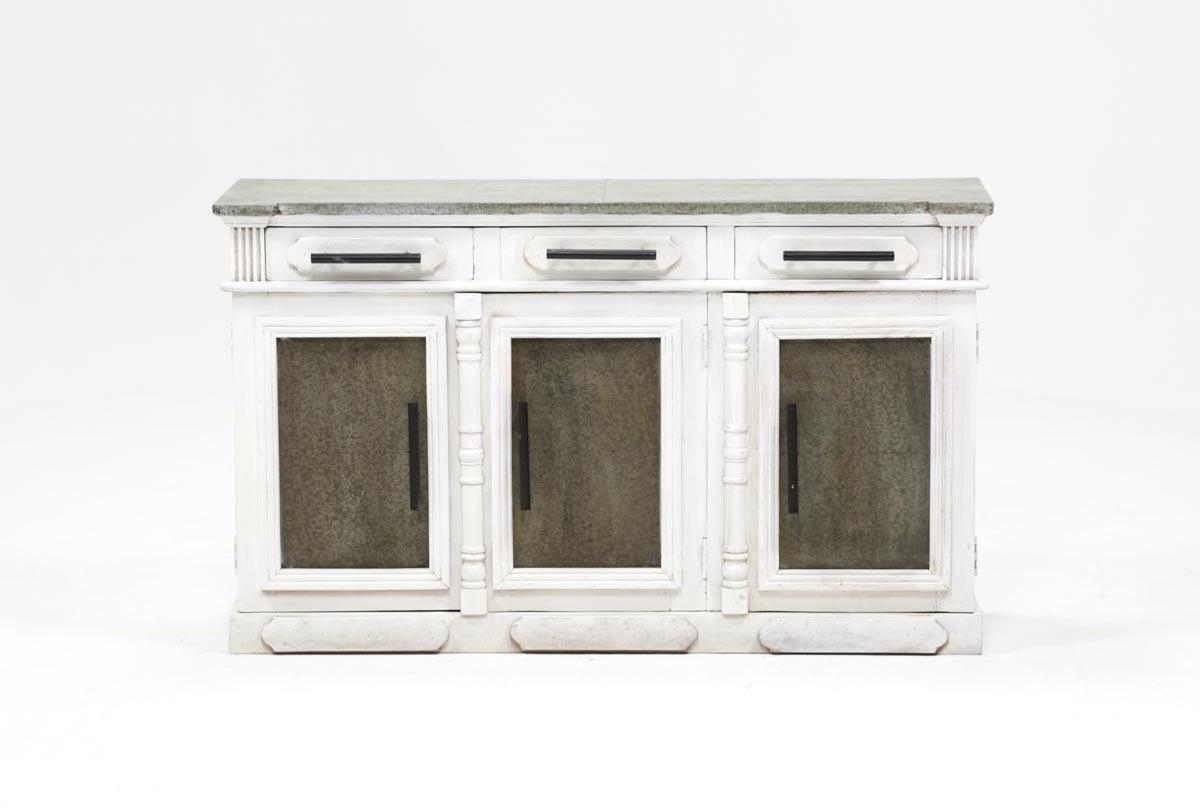 Inspiration about White Wash 3 Door/3 Drawer Sideboard | Living Spaces With Regard To Recent Mikelson Sideboards (#4 of 20)