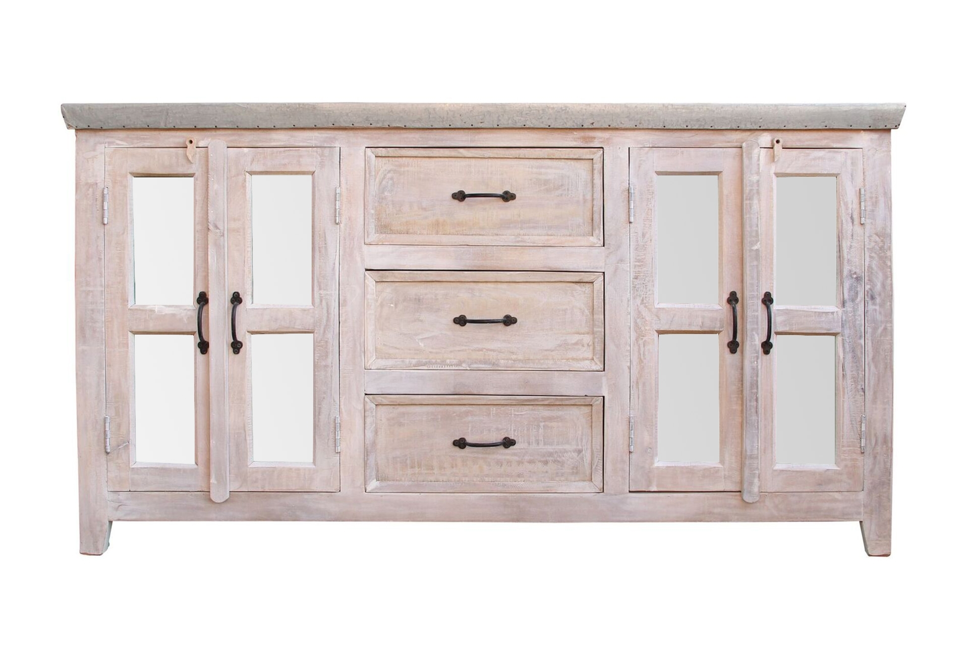 White Wash 4 Door/3 Drawer Glass Sideboard Within Newest White Wash 3 Door 3 Drawer Sideboards (View 3 of 20)