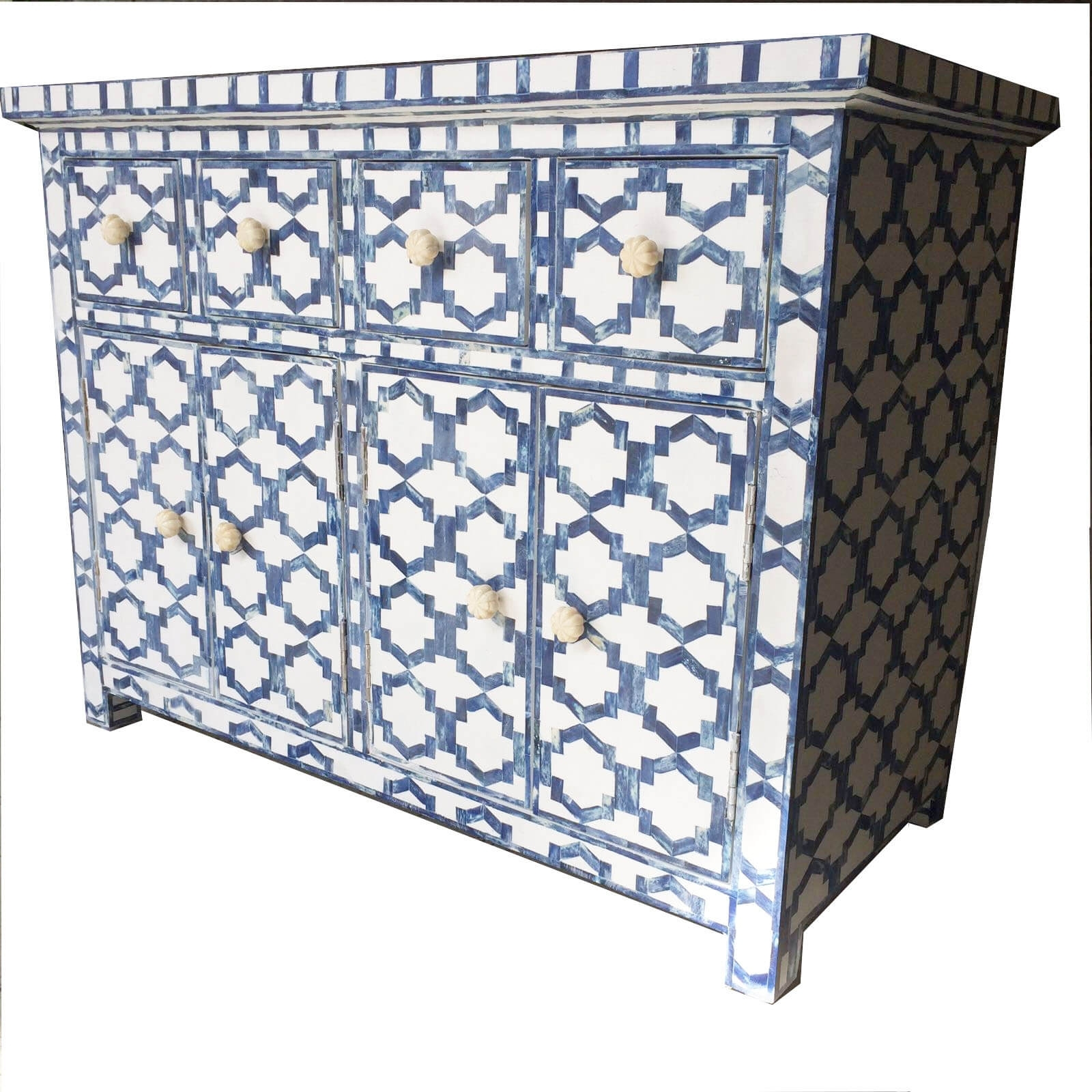 Inspiration about White With Blue Bone Sideboard | Iris Furnishing With Best And Newest Geo Pattern Black And White Bone Inlay Sideboards (#16 of 20)