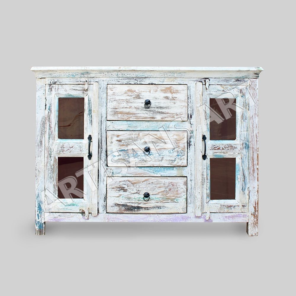 Inspiration about Whitewashed Reclaimed 2 Glass Door Cabinet,hand Finished Antique With Newest Corrugated White Wash Sideboards (#19 of 20)