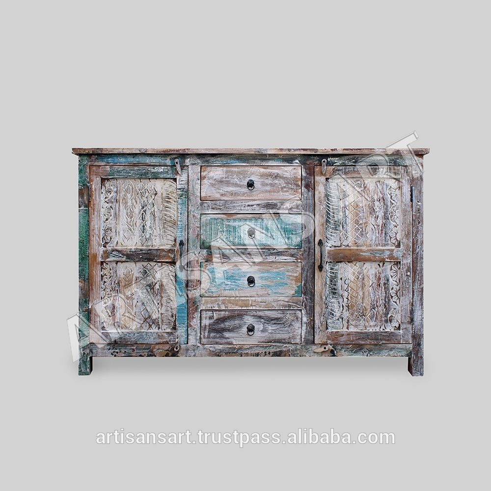 Whitewashed Reclaimed Wood 2 Door 4 Drawer Sideboard,hand Finished With Regard To Best And Newest 4 Door 3 Drawer White Wash Sideboards (#19 of 20)