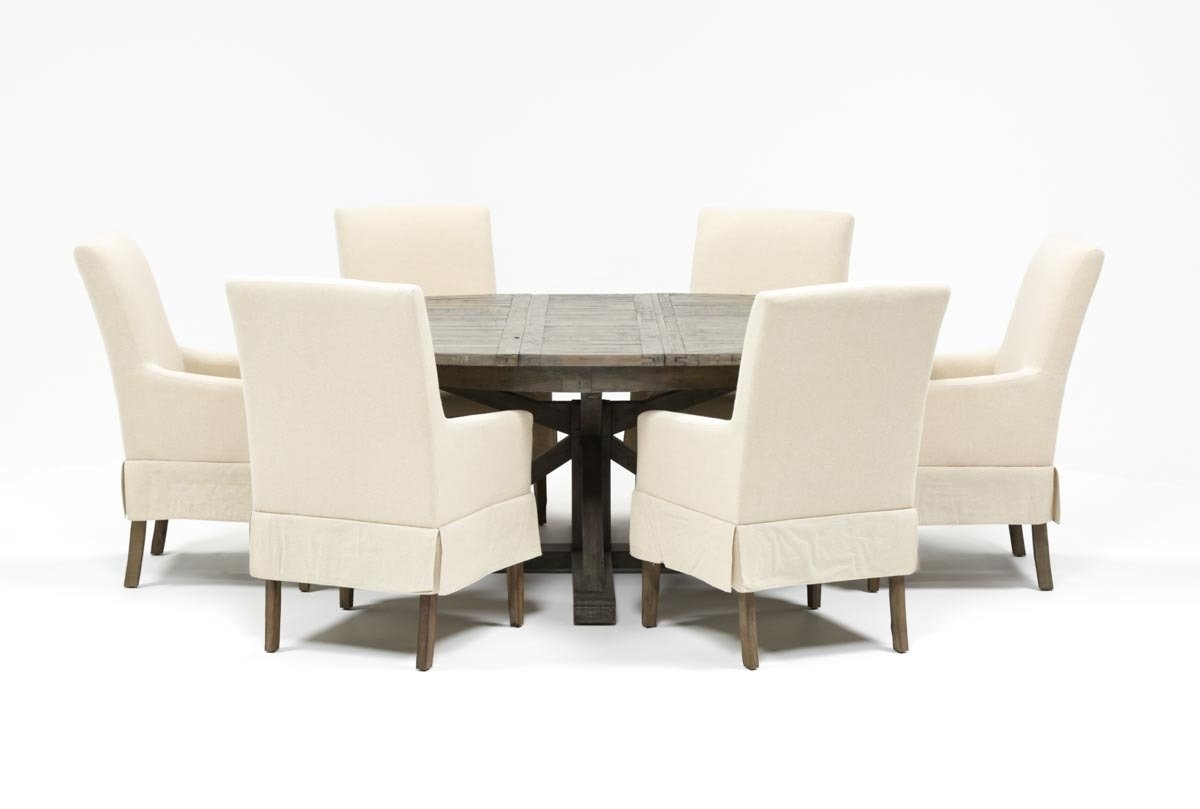 Inspiration about Widely Used Combs 7 Piece Dining Set W/ Mindy Slipcovered Chairs (#5 of 20)