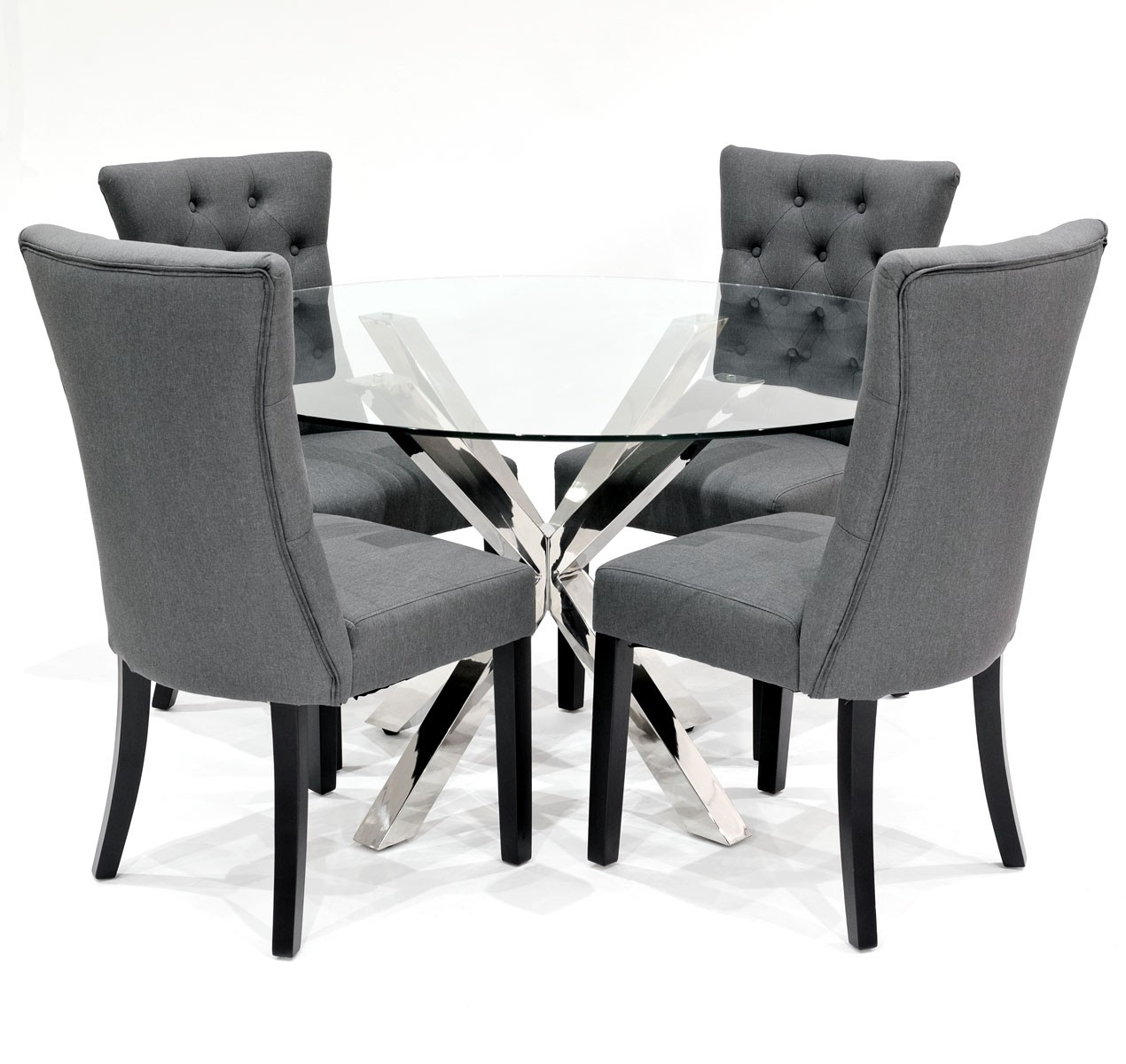 Widely Used Grey Dining Chairs In Crossly Dining Table And Sanderson Grey Dining Chair Set – Be Fabulous! (#18 of 20)