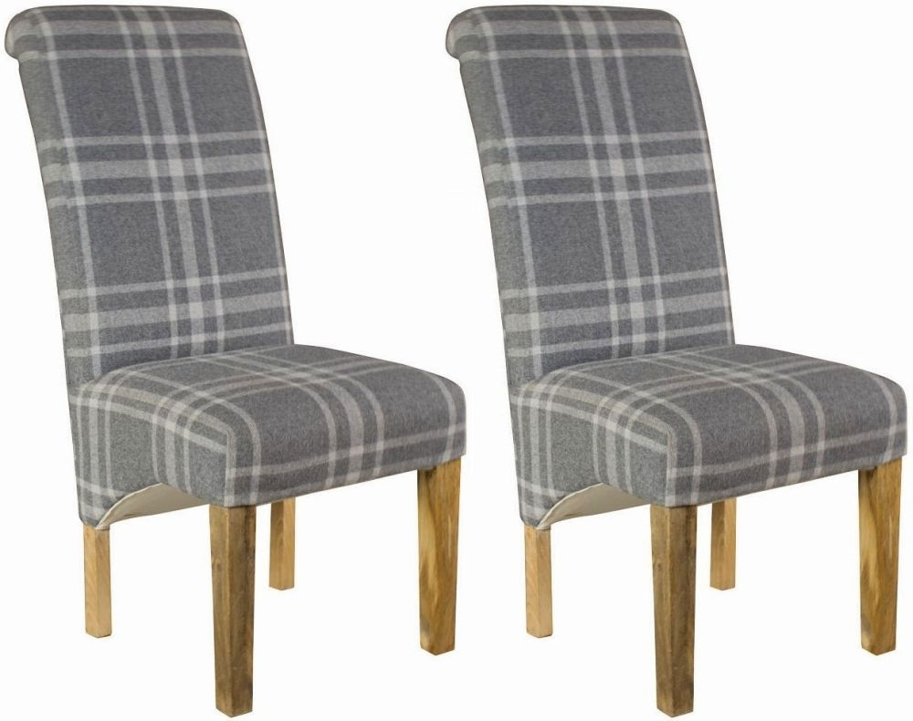 Widely Used Grey Dining Chairs Regarding Buy Grey Tartan Dining Chair (Pair) Online – Cfs Uk (#20 of 20)