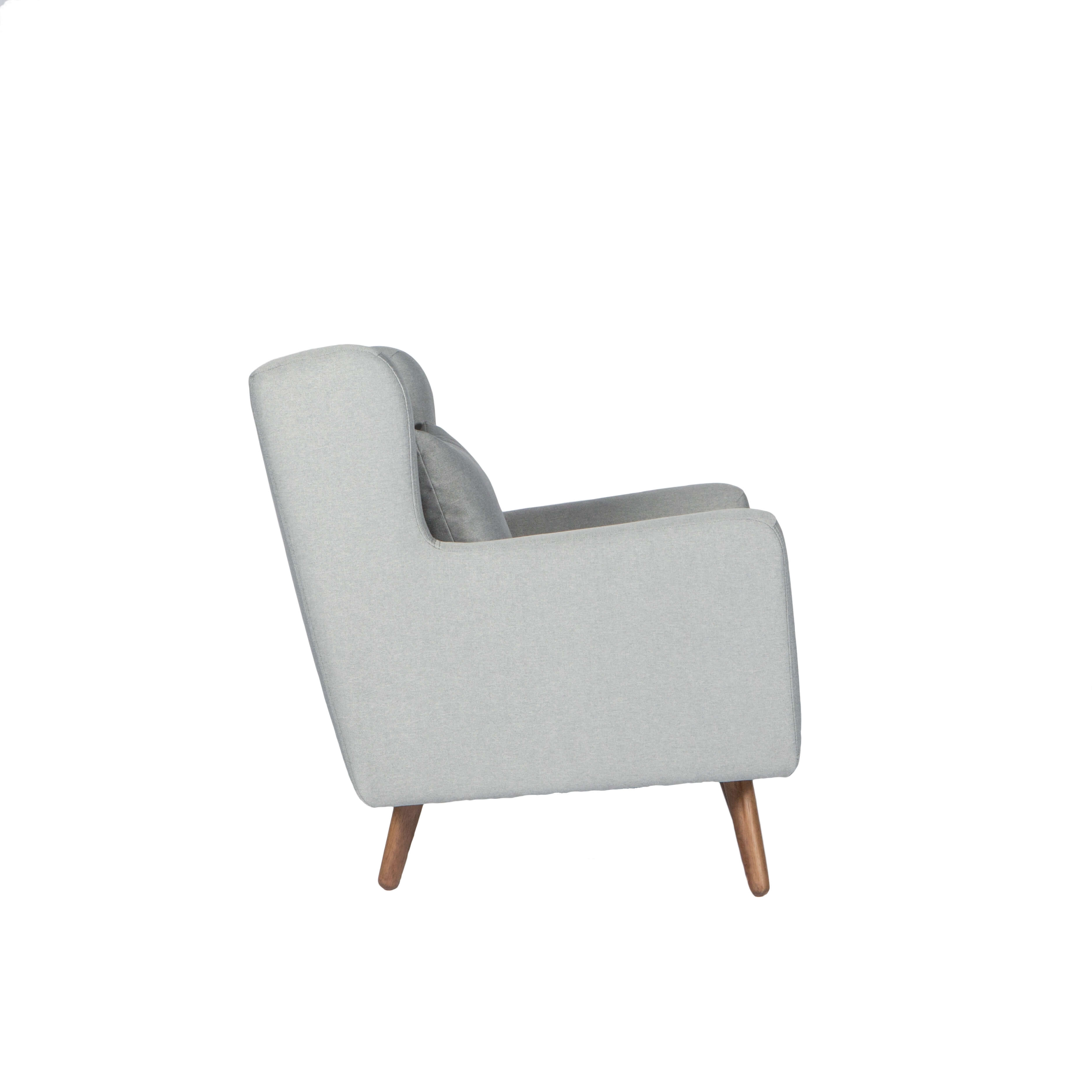 Wing Back Armchair With Angled Legs – Lincoln – Grey Throughout 2019 Gunner Side Chairs (#20 of 20)