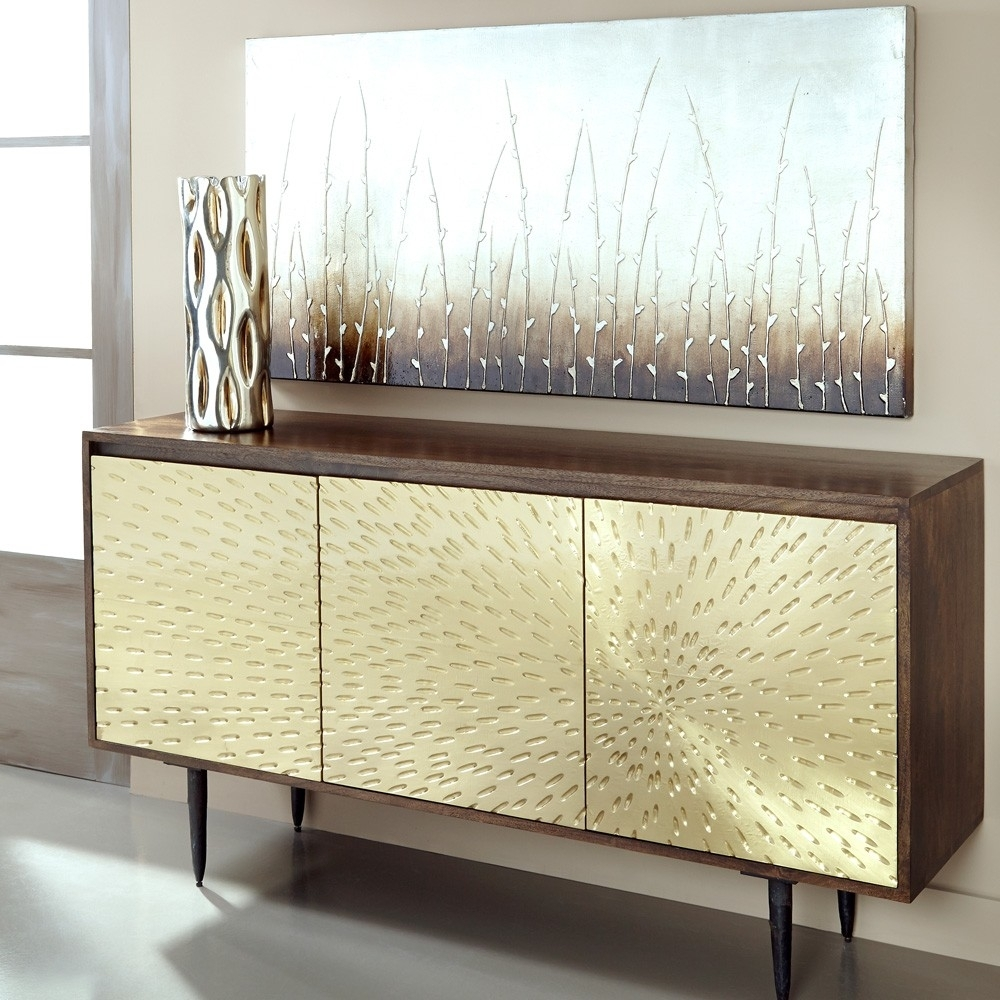 Inspiration about Wood & Brass Three Door Sideboard In Dark Mango | Humble Abode Within Most Up To Date Square Brass 4 Door Sideboards (#12 of 20)