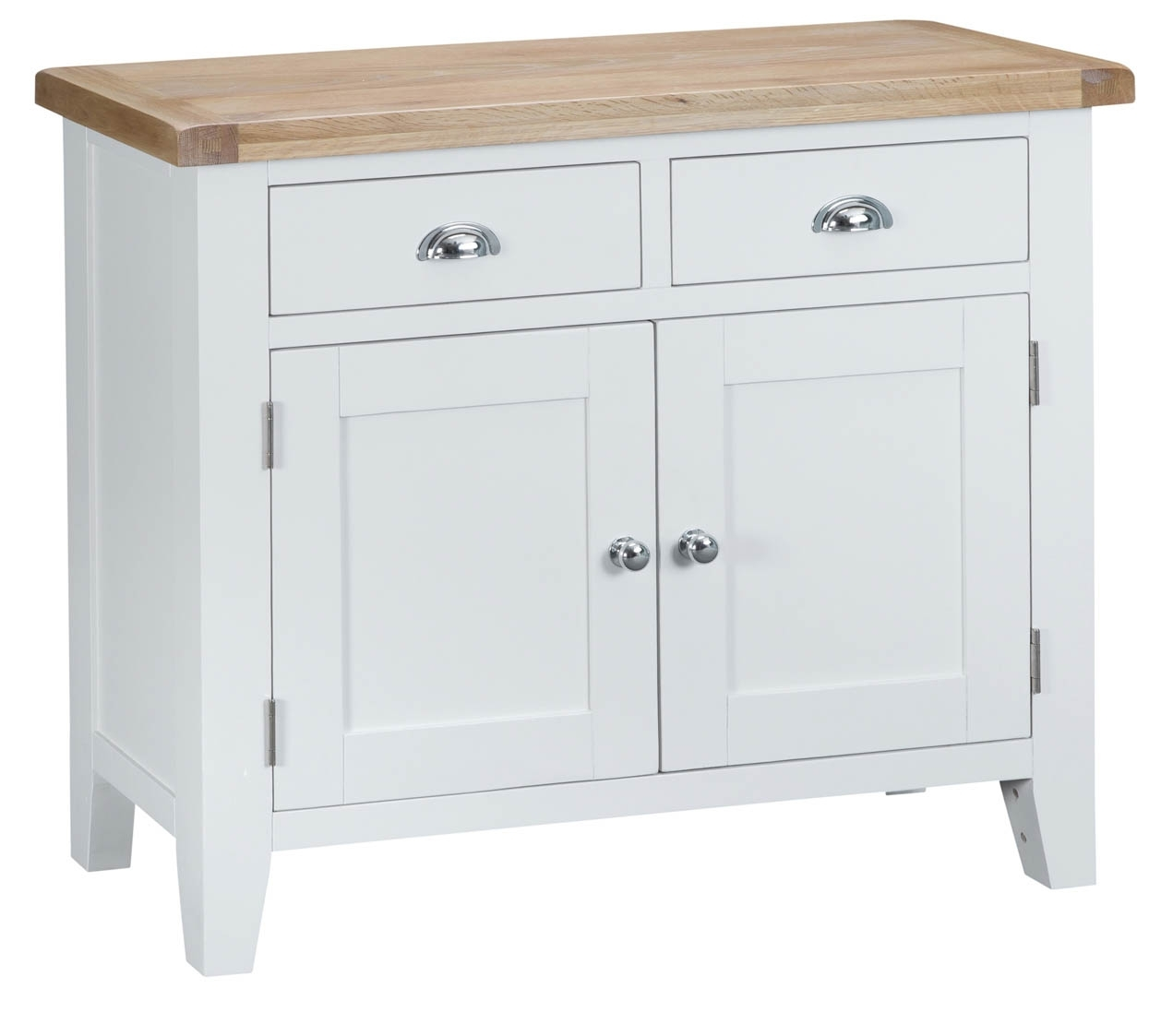 Inspiration about Woodbridge 2 Door White Sideboard | Fully Assembled | Oak World Within Most Current 3 Drawer/2 Door White Wash Sideboards (#14 of 20)