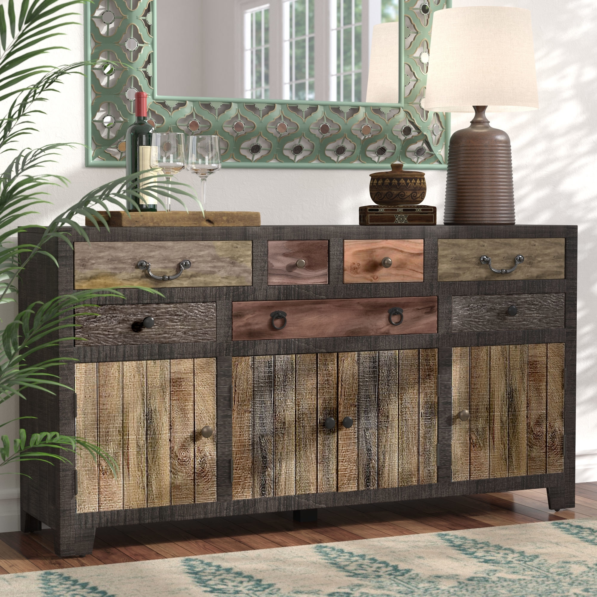 World Menagerie Moultry 7 Drawer 4 Door Sideboard & Reviews | Wayfair With Most Recently Released 4 Door/4 Drawer Metal Inserts Sideboards (#20 of 20)