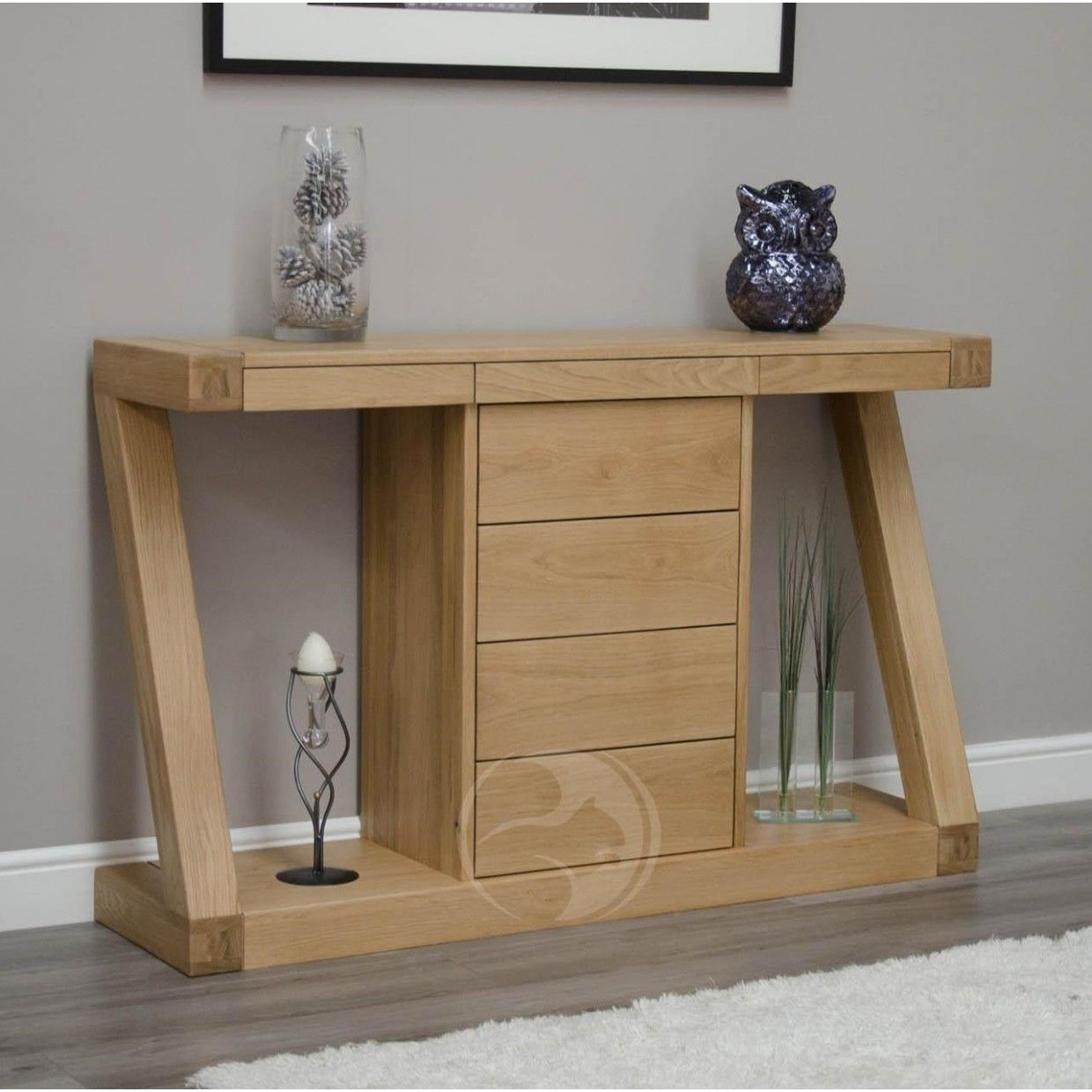 Z Shape Solid Oak Large Hall/ Console Table With Drawers | Entrance Intended For Most Recent Jigsaw Refinement Sideboards (#20 of 20)