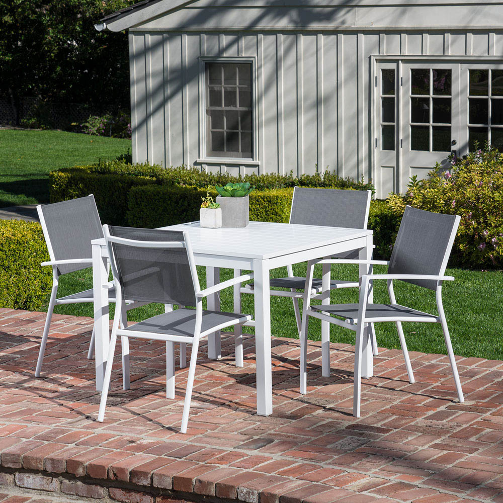 2017 Delmar 5 Piece Dining Sets Throughout Hanover Del Mar 5 Piece Outdoor Dining Set With 4 Sling Arm Chairs (View 10 of 20)
