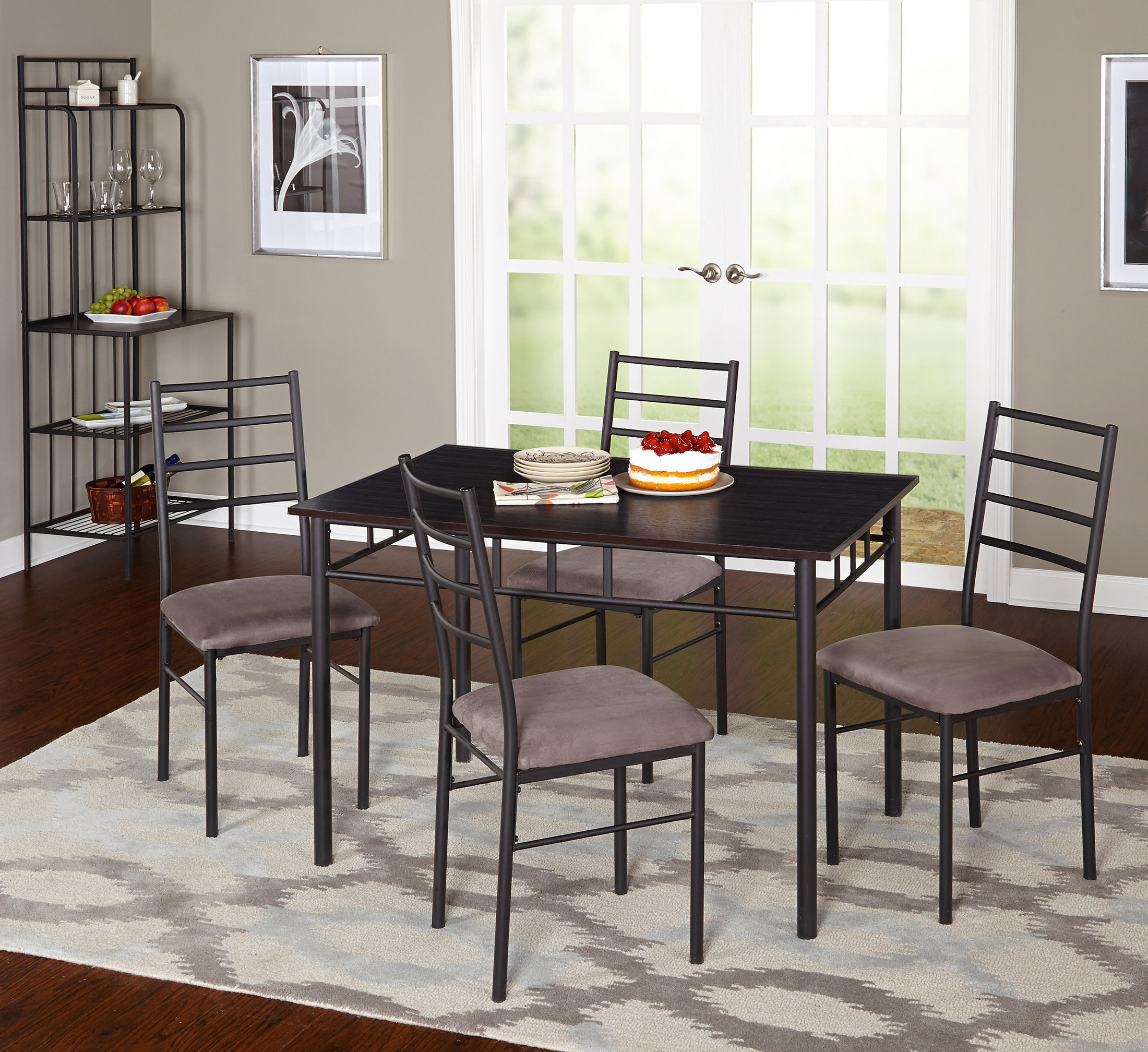 Inspiration about 2017 Latitude Run Noemi 5 Piece Dining Set With Baker's Rack (#18 of 20)